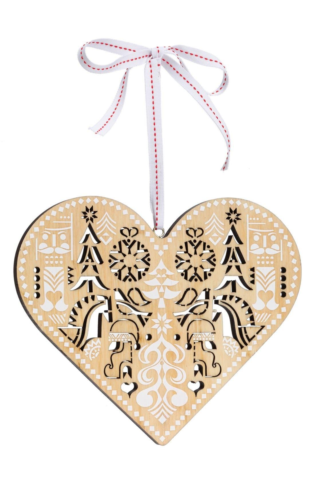Wooden Heart Ornament,                         Main,                         color, NATURAL