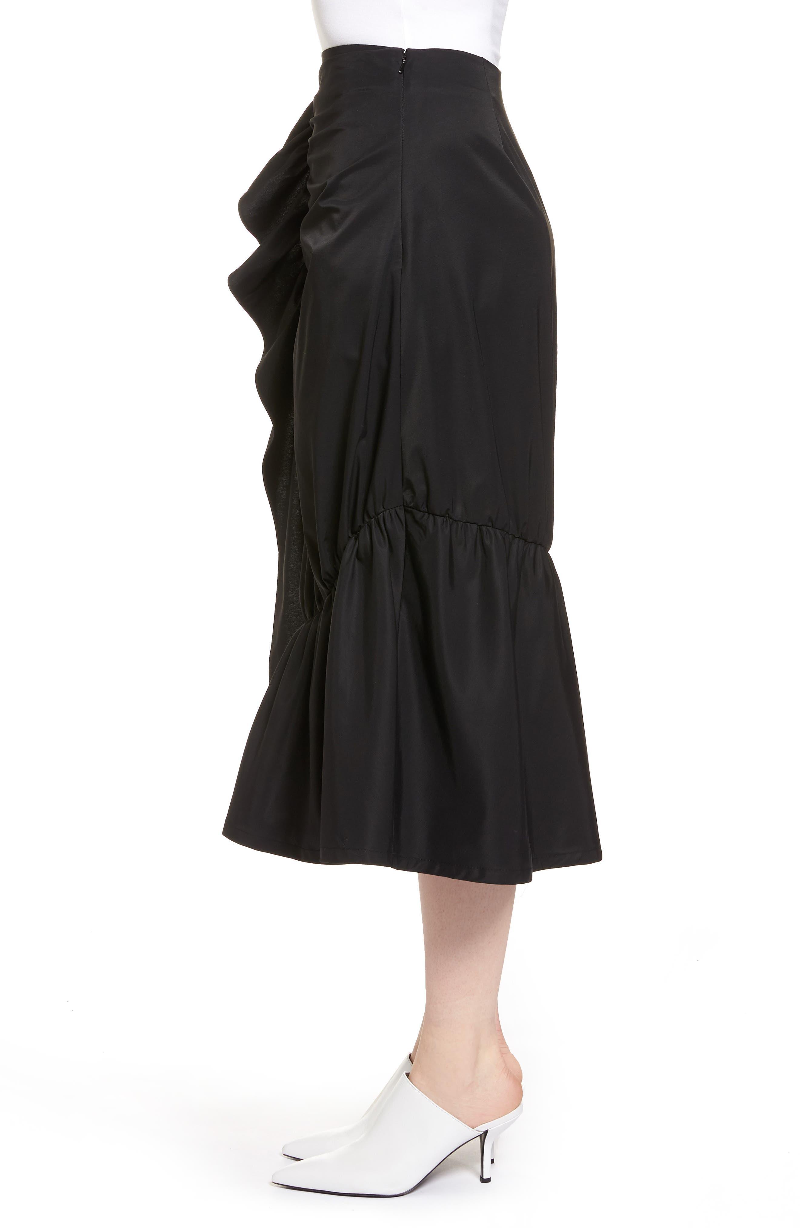 Ruffle Front Skirt,                             Alternate thumbnail 3, color,                             001