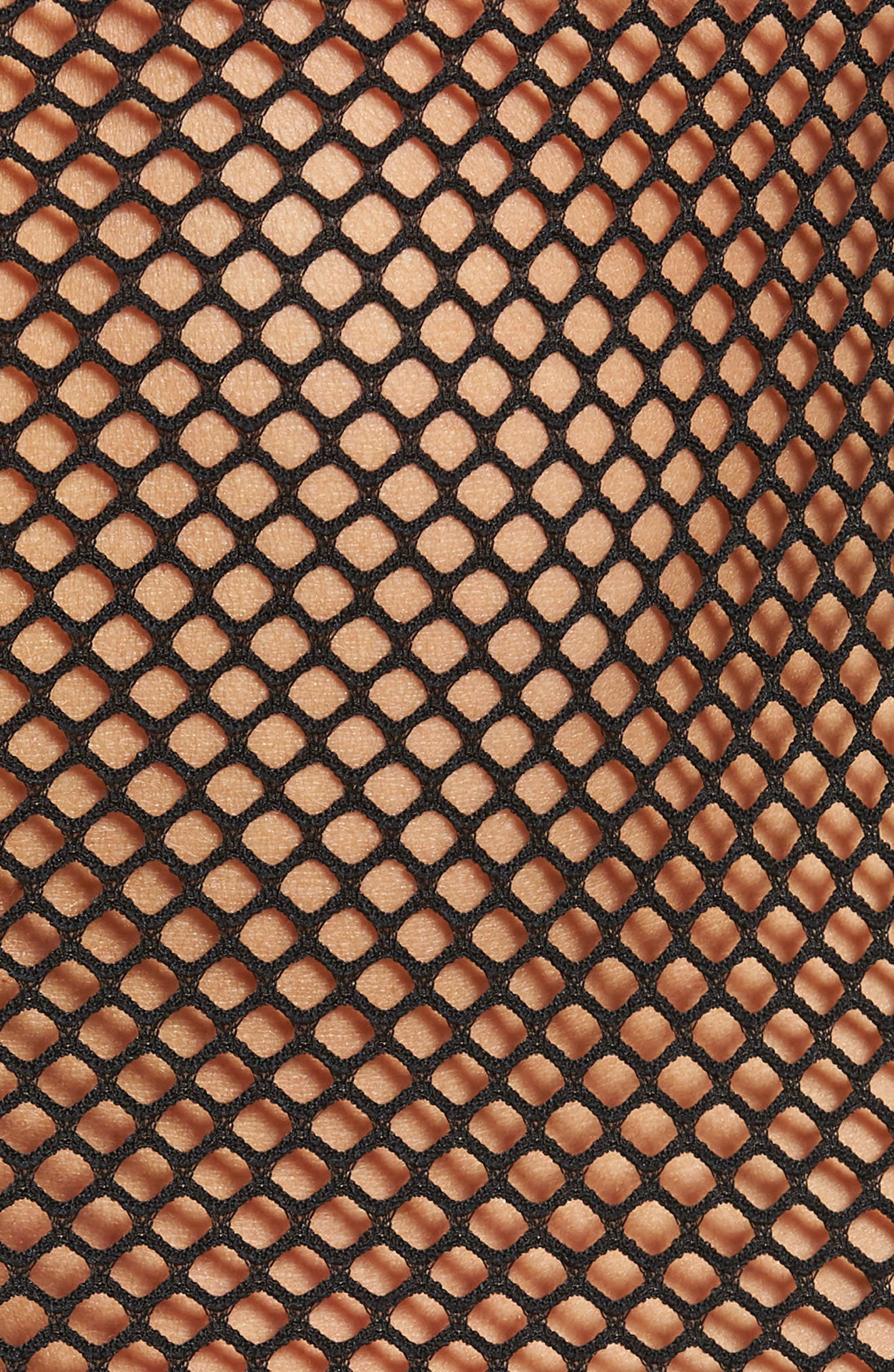 Mock Neck Fishnet Bodysuit,                             Alternate thumbnail 5, color,                             001
