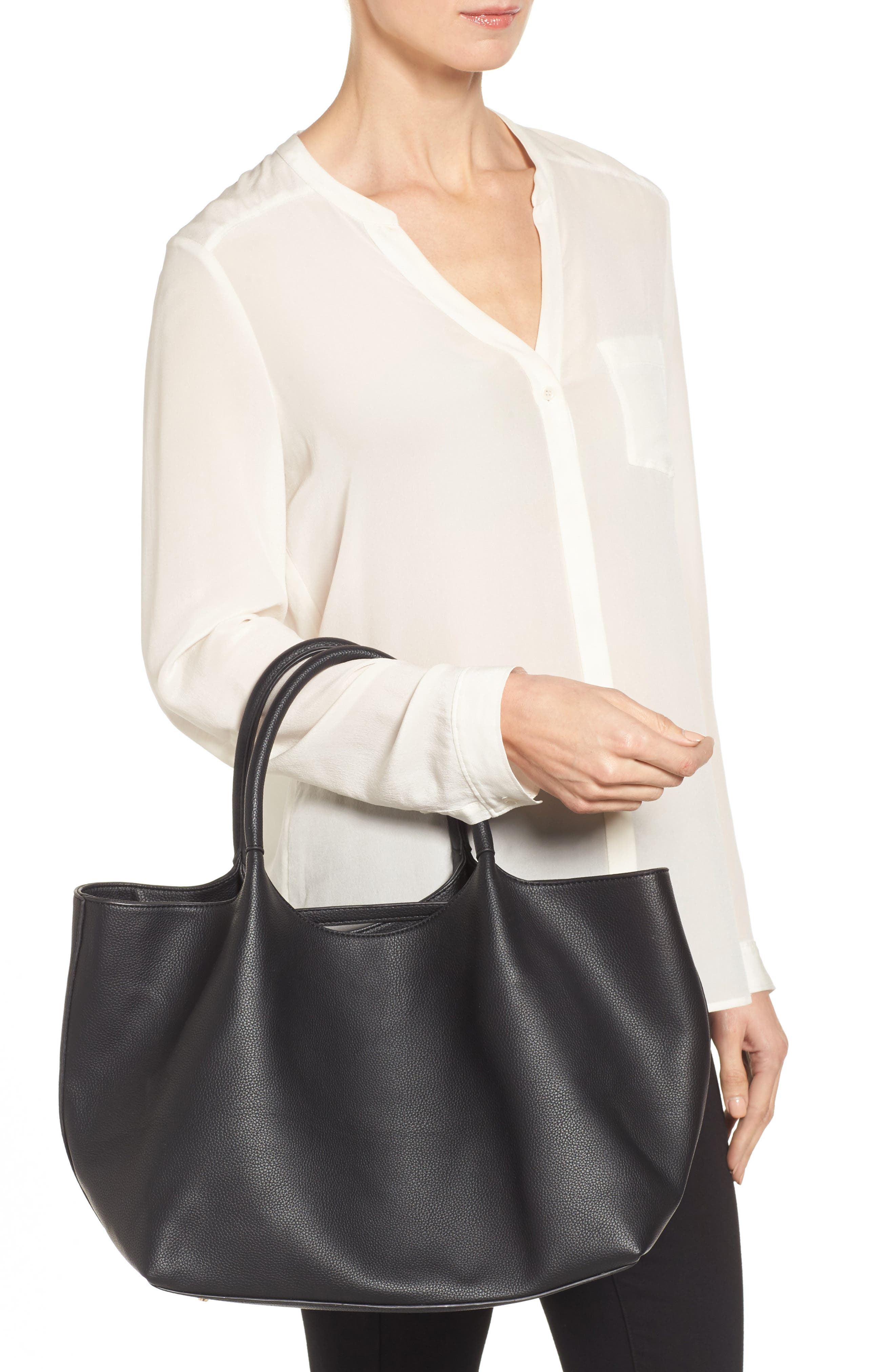 Cindy Faux Leather Convertible Tote,                             Alternate thumbnail 2, color,                             001