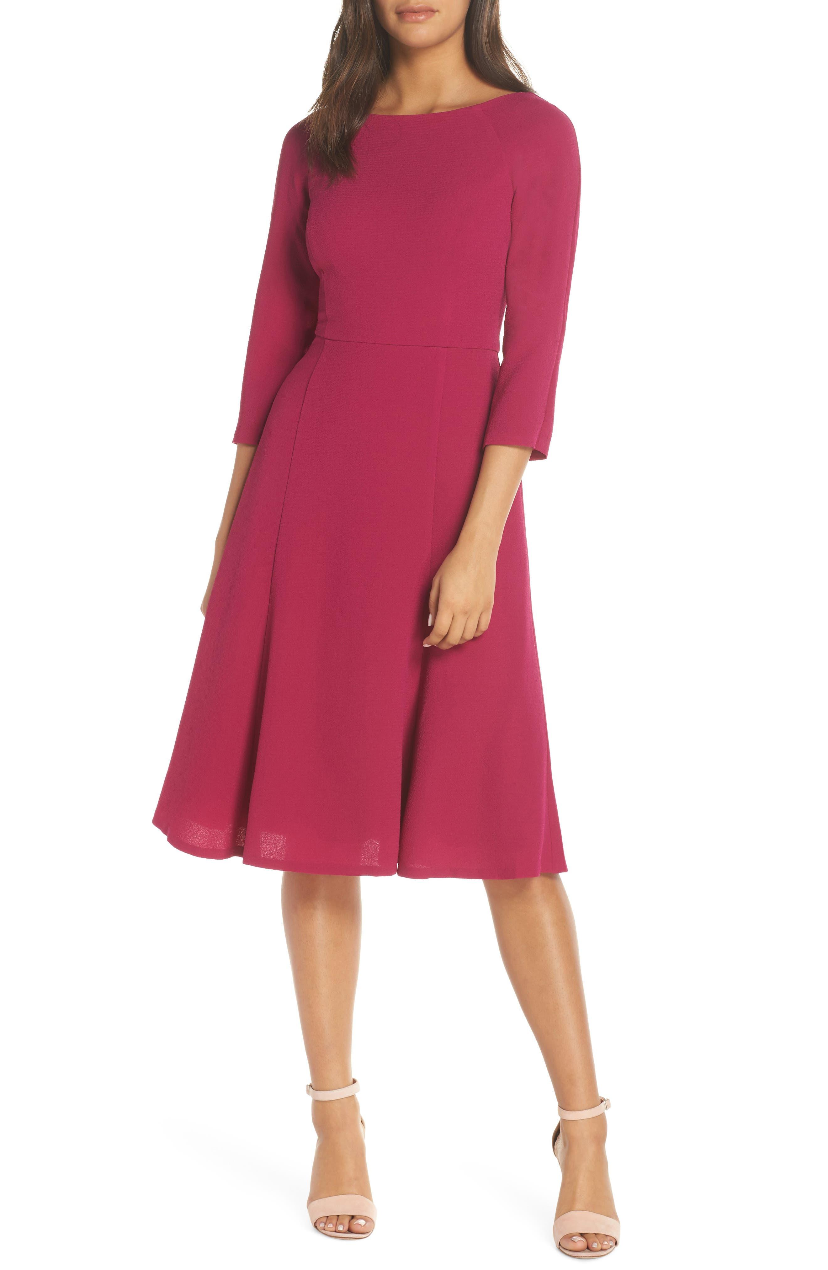 Eliza J Crepe Fit & Flare Dress, Pink