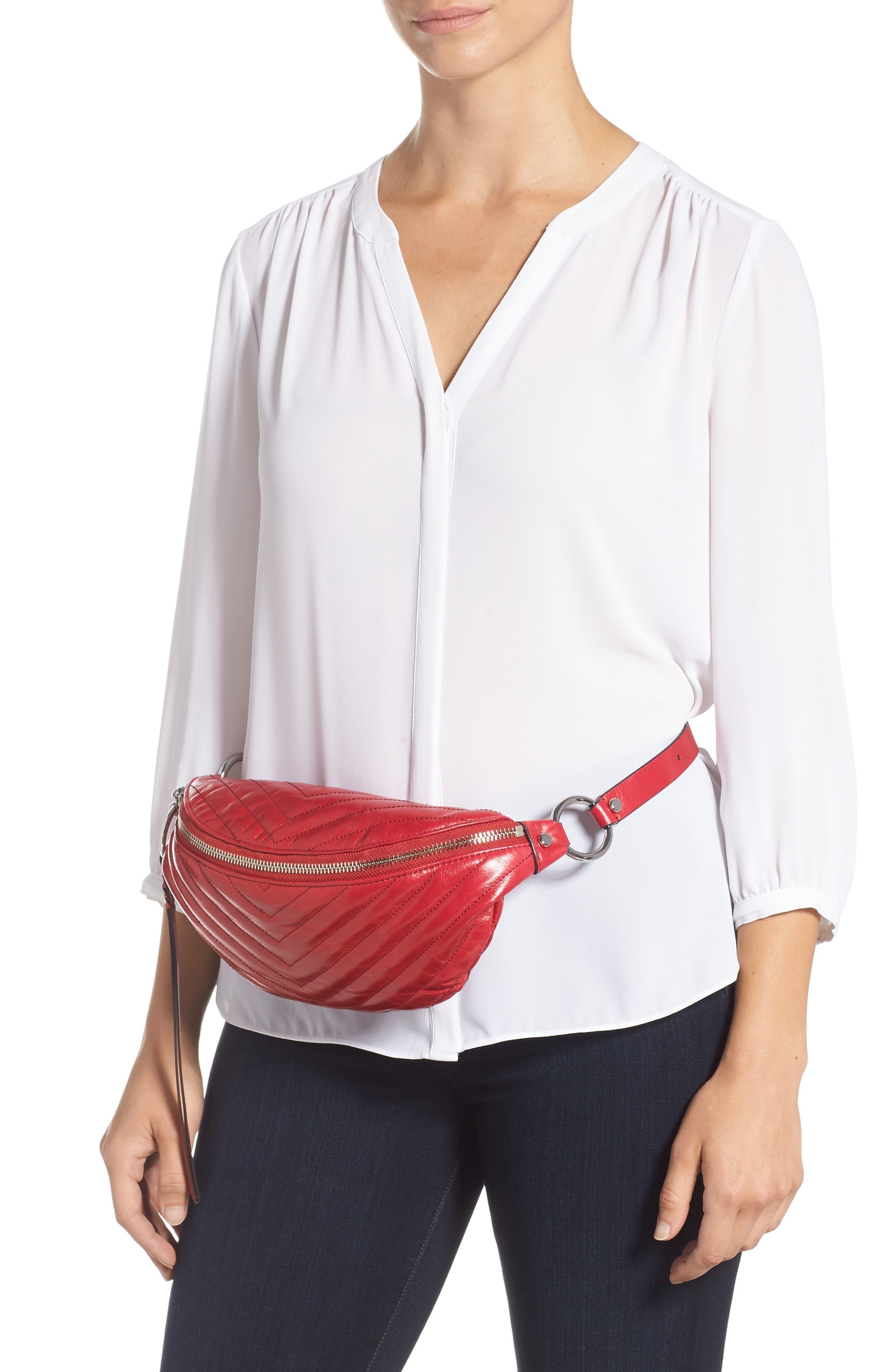 Edie Leather Belt Bag,                             Alternate thumbnail 2, color,                             SCARLET