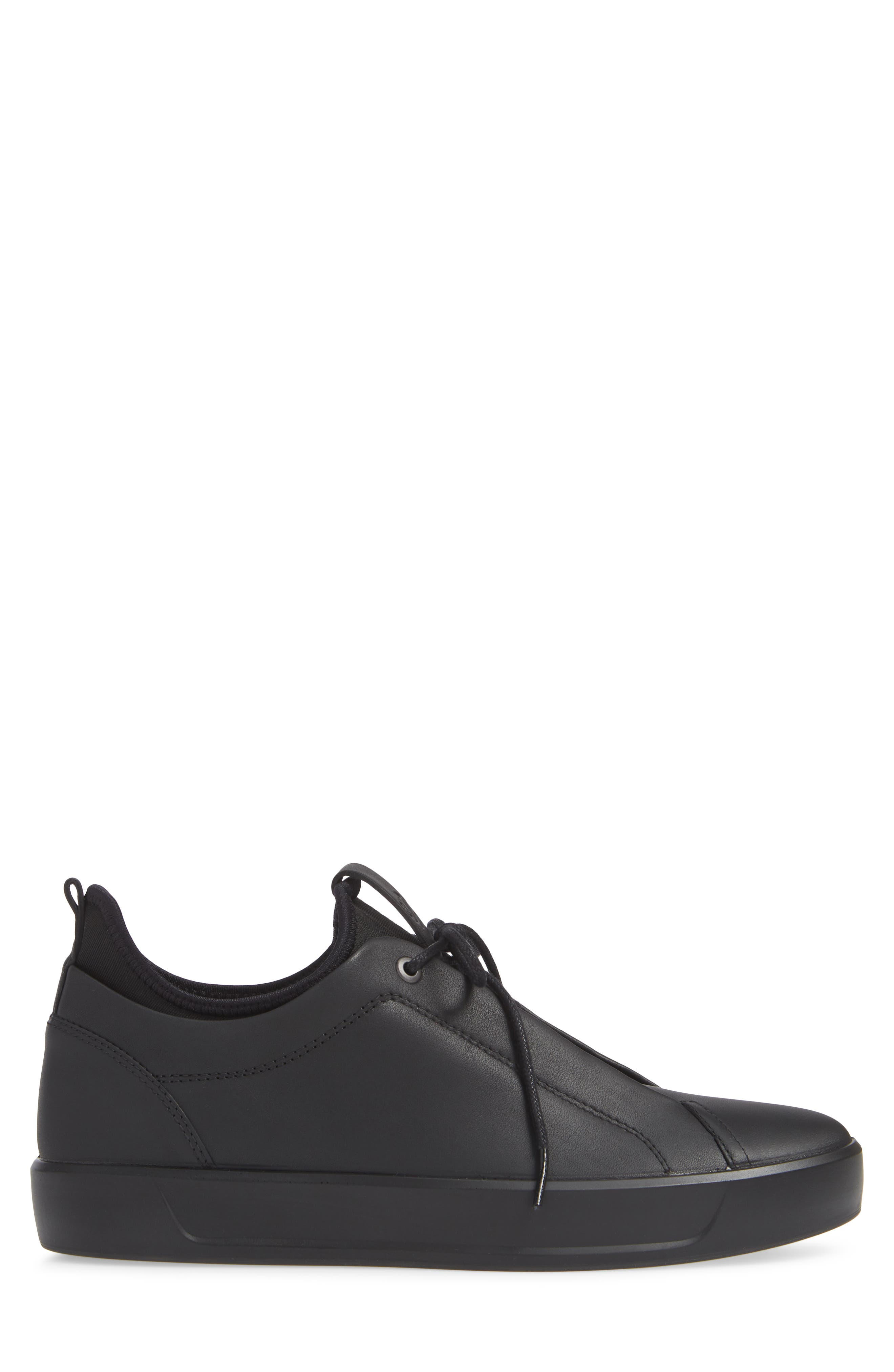 Soft 8 Low Top Sneaker,                             Alternate thumbnail 3, color,                             BLACK LEATHER
