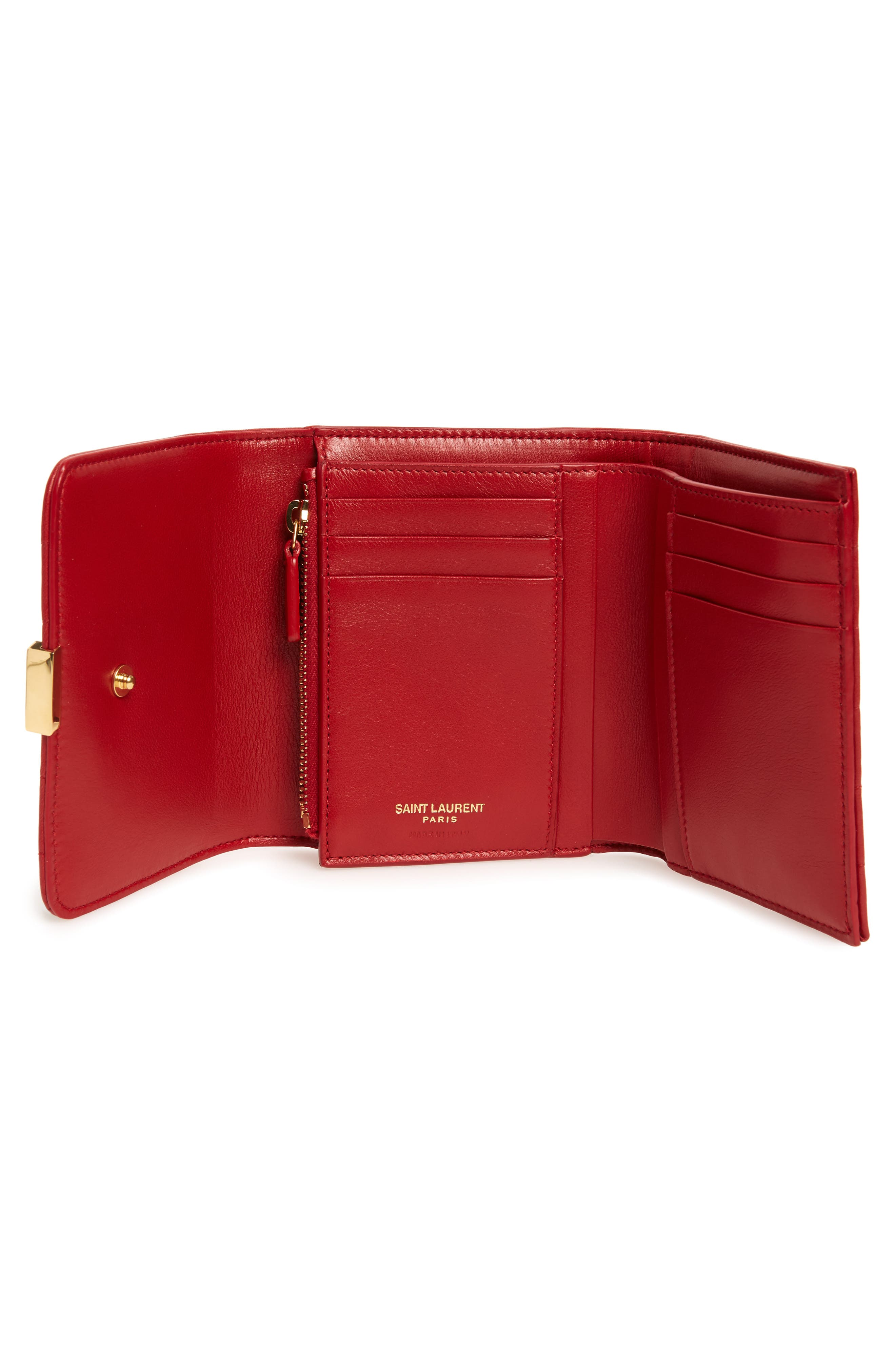 Vicky Lambskin Leather Trifold Wallet,                             Alternate thumbnail 2, color,                             ROUGE EROS