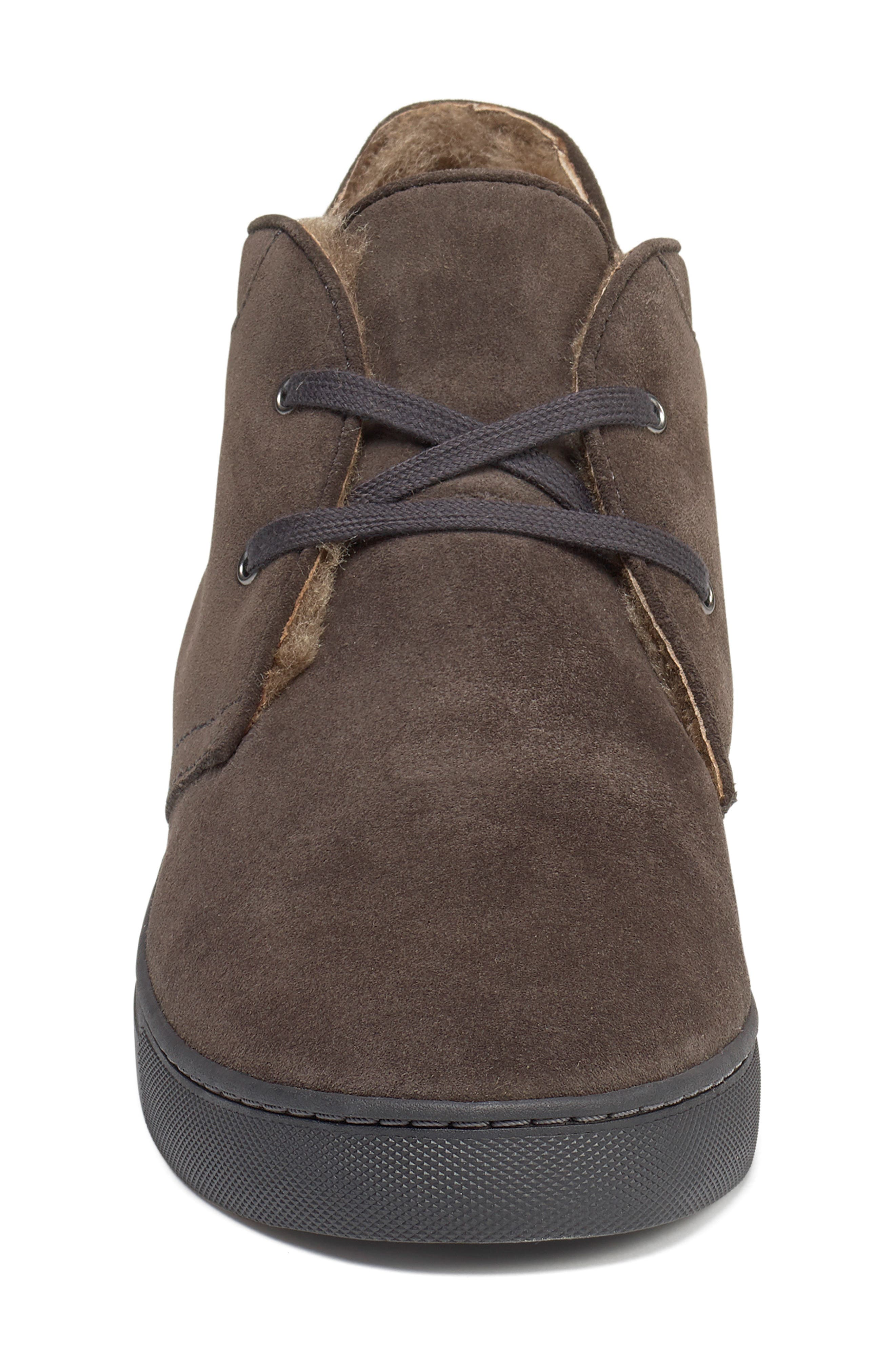 Ariston Genuine Shearling Chukka Boot,                             Alternate thumbnail 4, color,                             CHARCOAL SUEDE