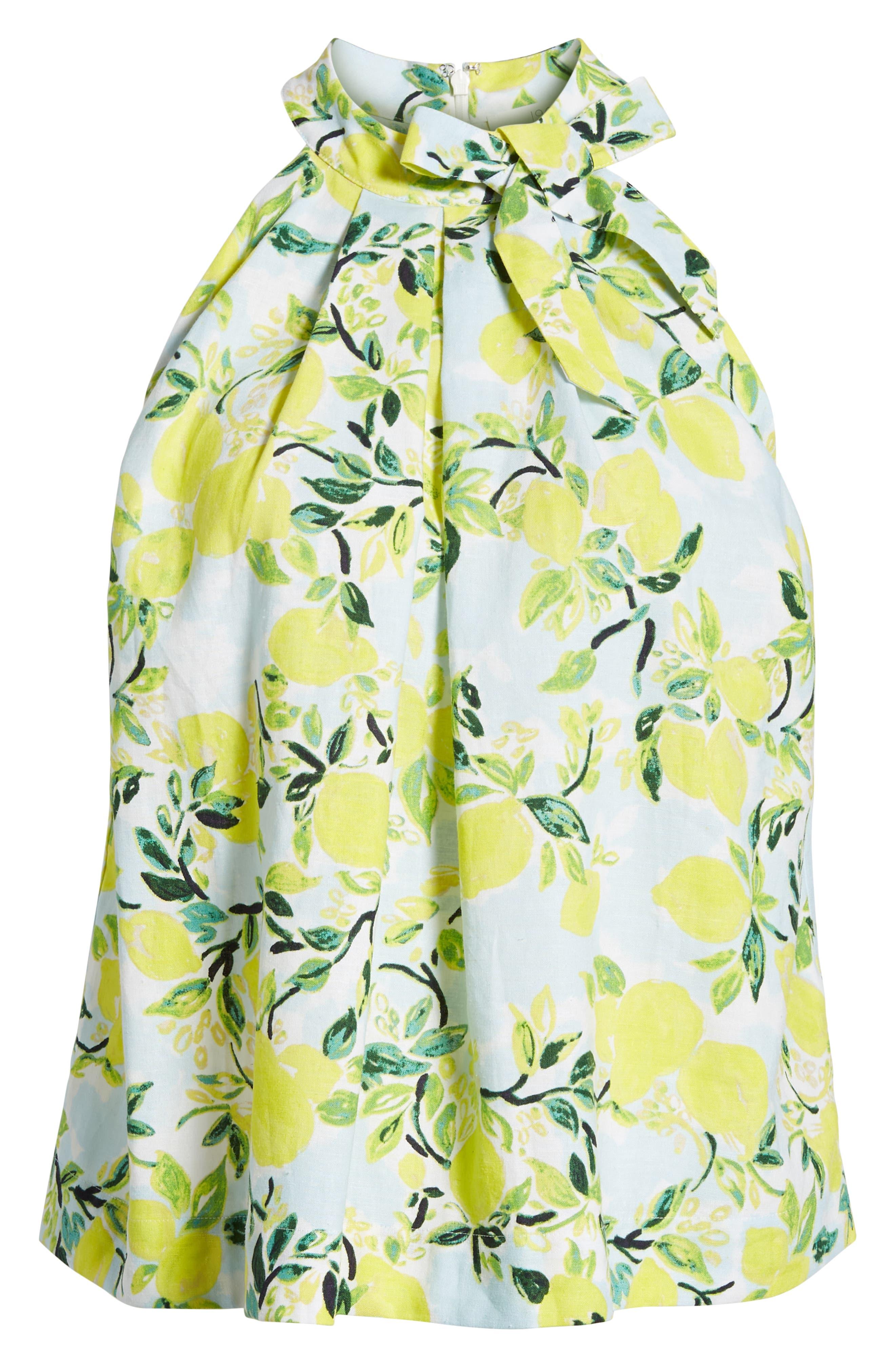 Tie Neck Linen Blend Top,                             Alternate thumbnail 6, color,                             450