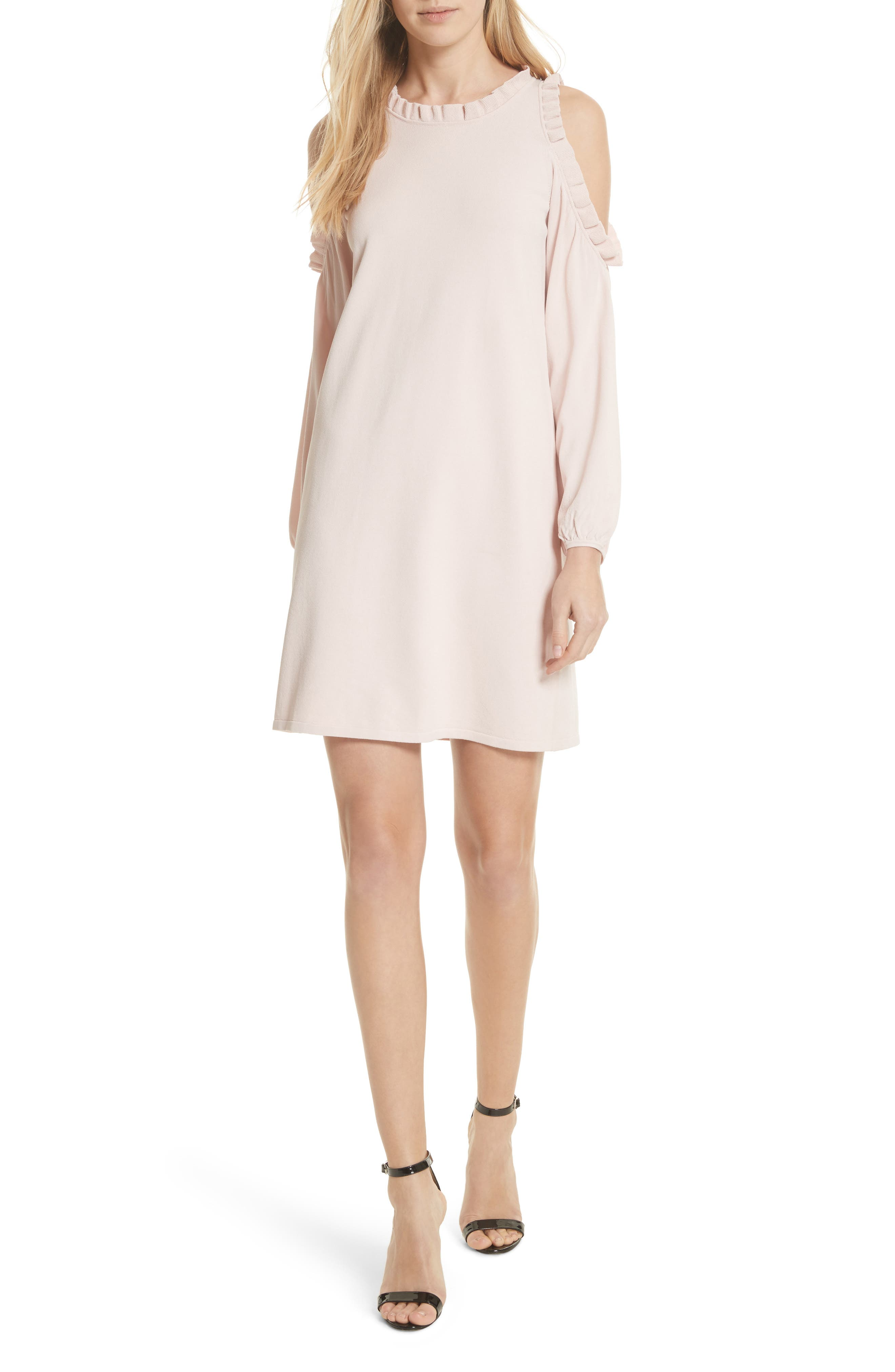 MILLY,                             Ruffle Trim Cold Shoulder Minidress,                             Main thumbnail 1, color,                             653