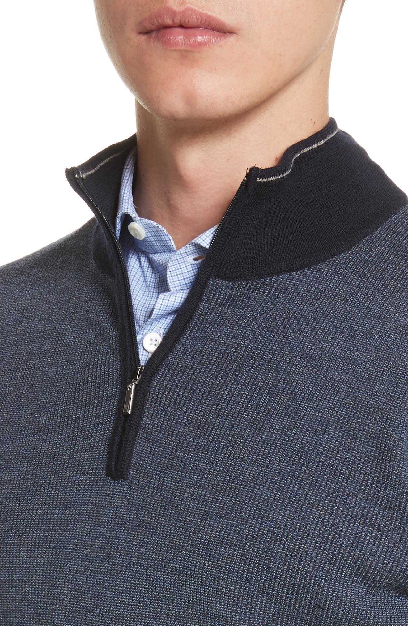 Quarter Zip Wool Sweater,                             Alternate thumbnail 4, color,                             401