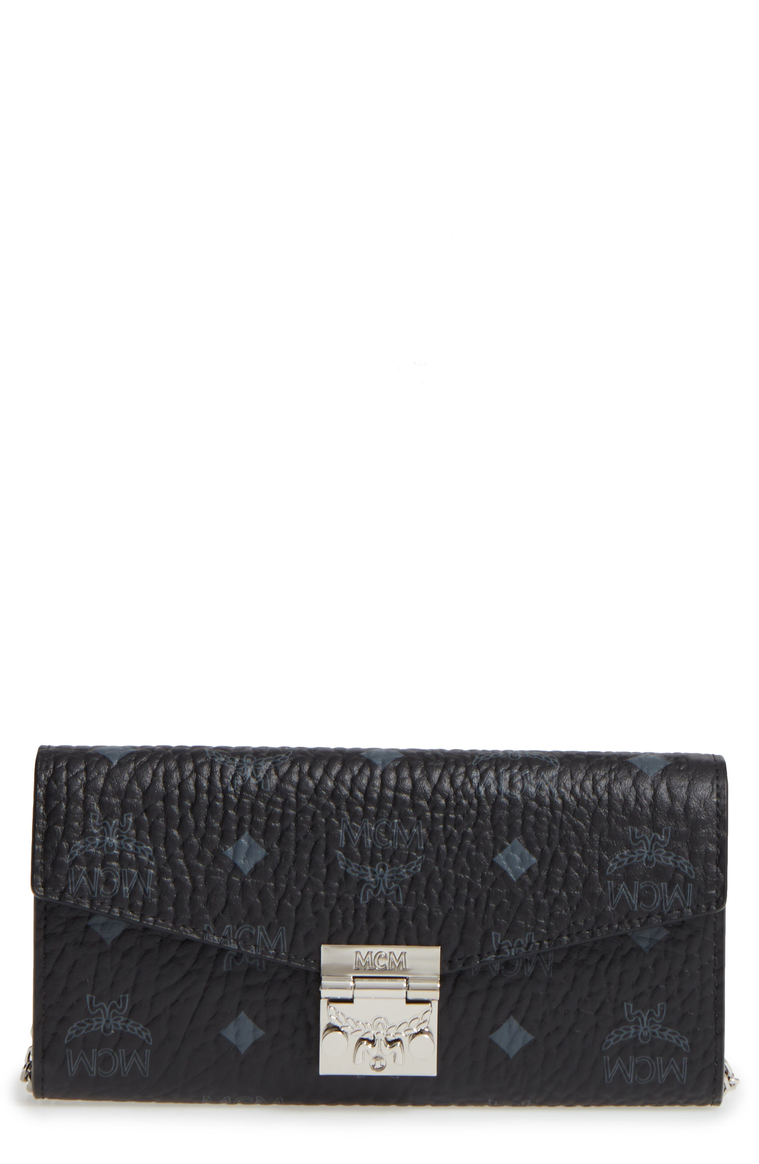 Large Patricia Visetos Canvas Wallet on a Chain, Main, color, 001