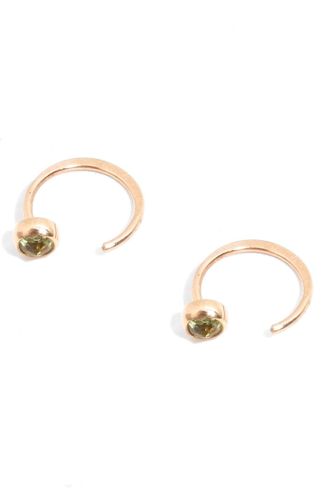 Peridot Hug Hoop Earrings,                             Alternate thumbnail 2, color,                             YELLOW GOLD/ PERIDOT