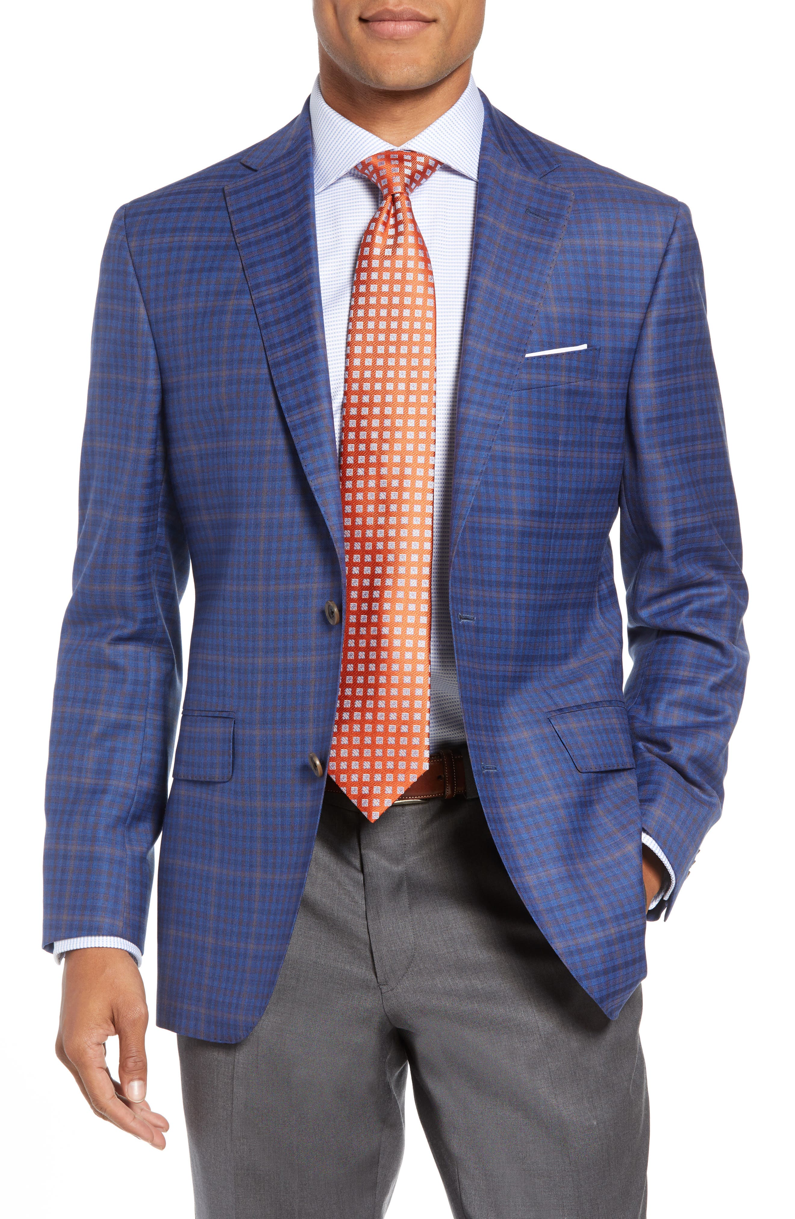 DAVID DONAHUE Connor Classic Fit Plaid Wool Sport Coat, Main, color, 400