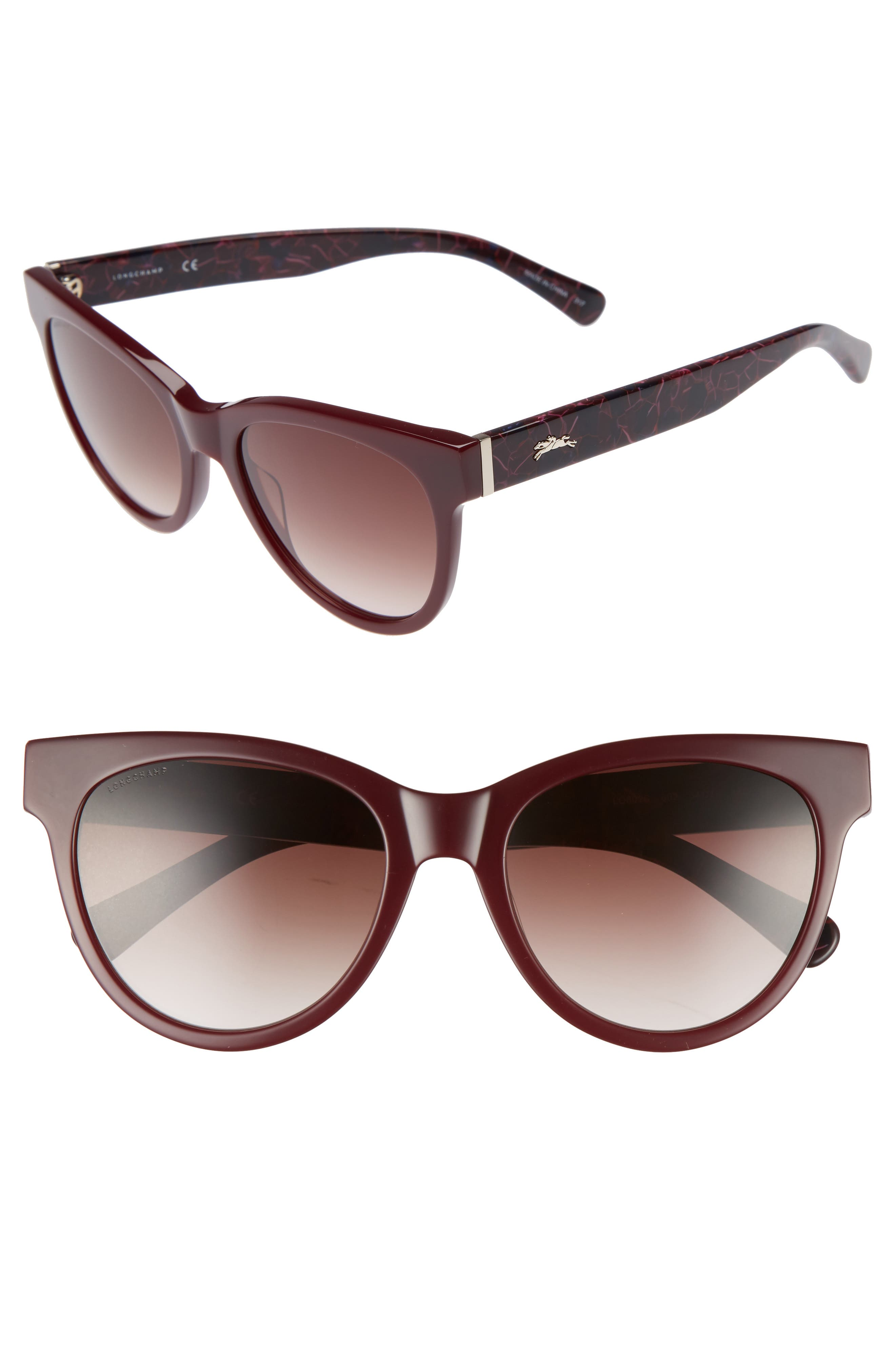 54mm Gradient Lens Cat Eye Sunglasses,                         Main,                         color, WINE