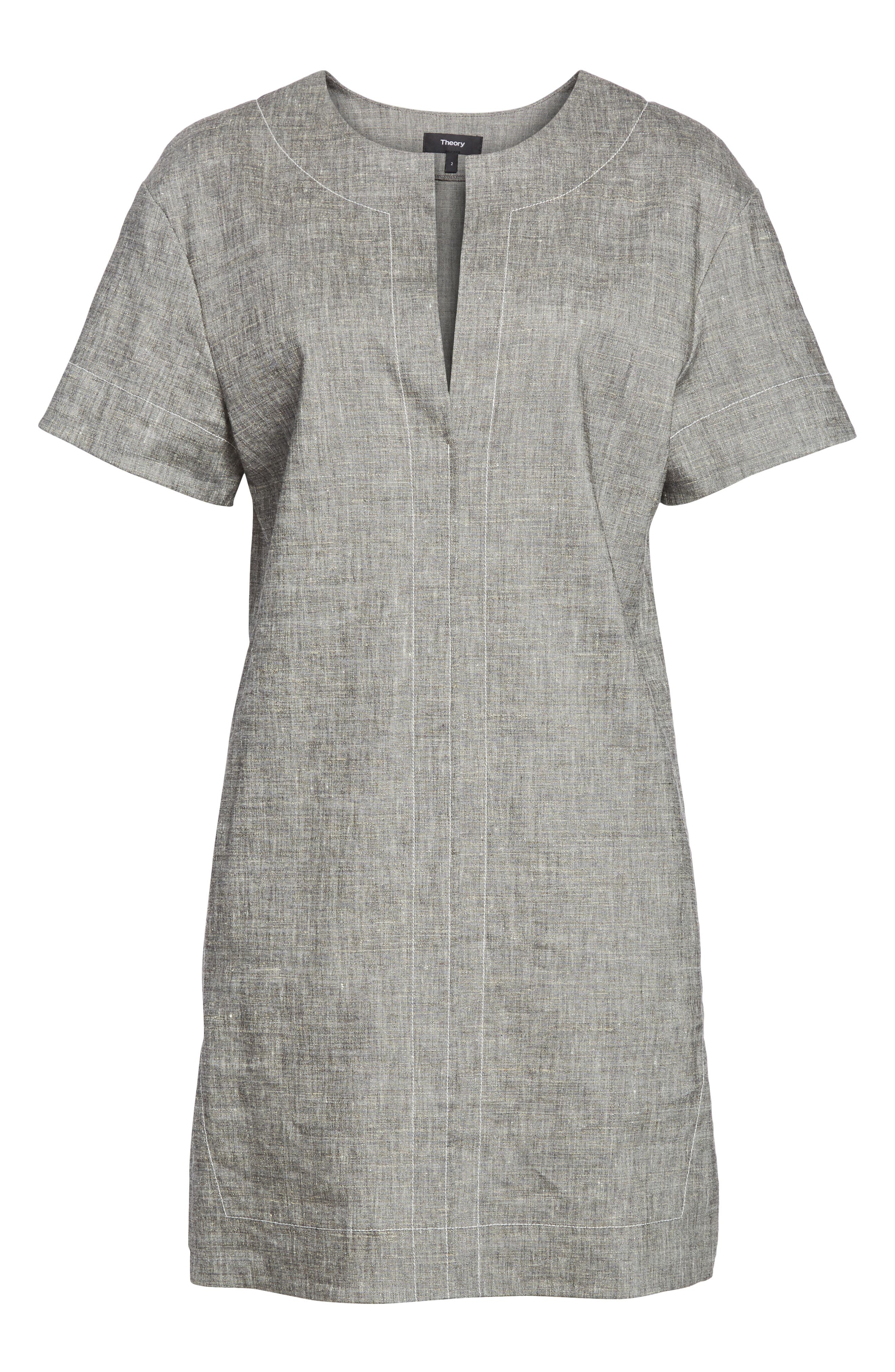 Split Neck Linen Blend Shift Dress,                             Alternate thumbnail 6, color,                             010