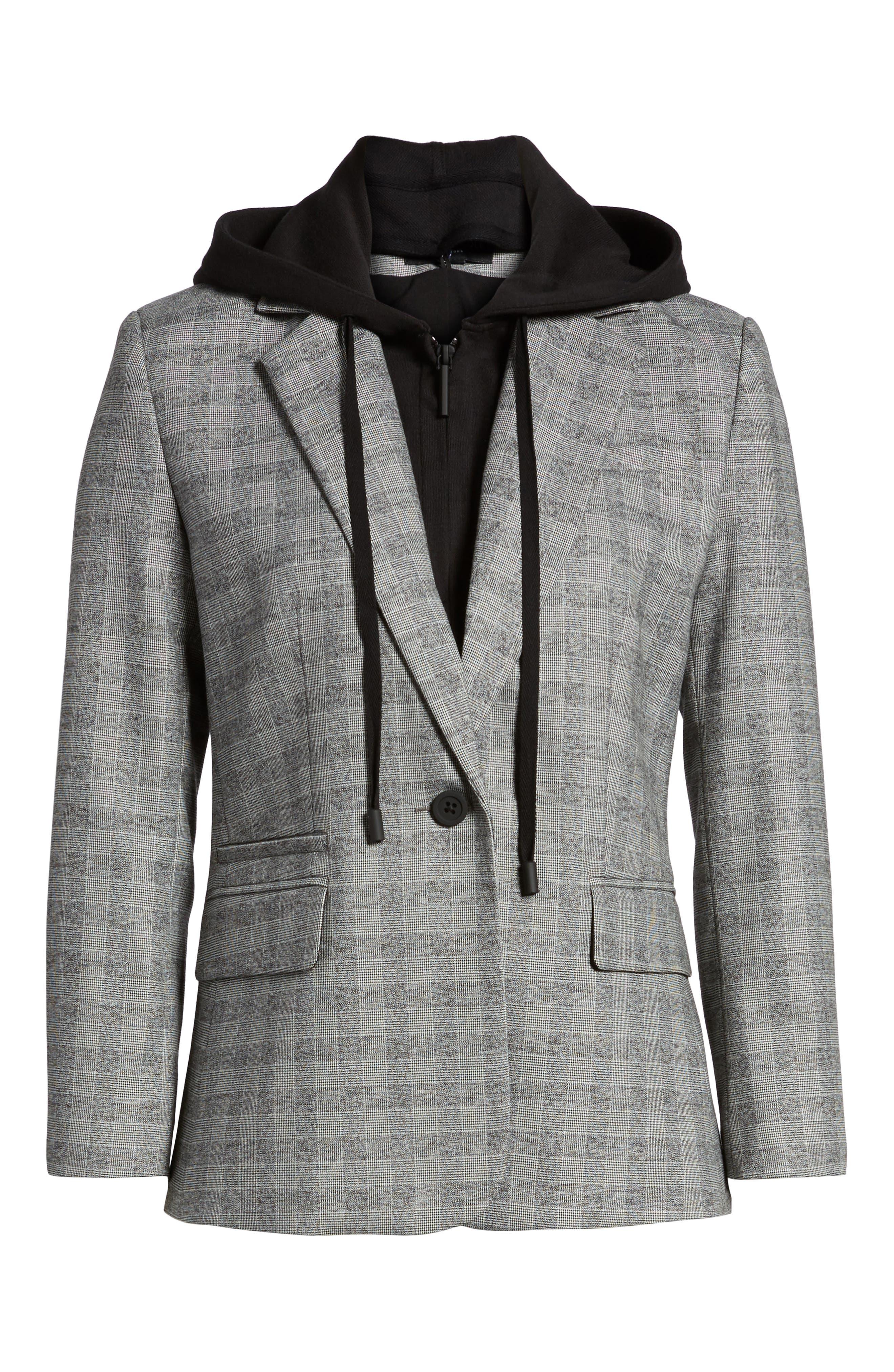 Menswear Removable Hood Plaid Blazer,                             Alternate thumbnail 5, color,                             086