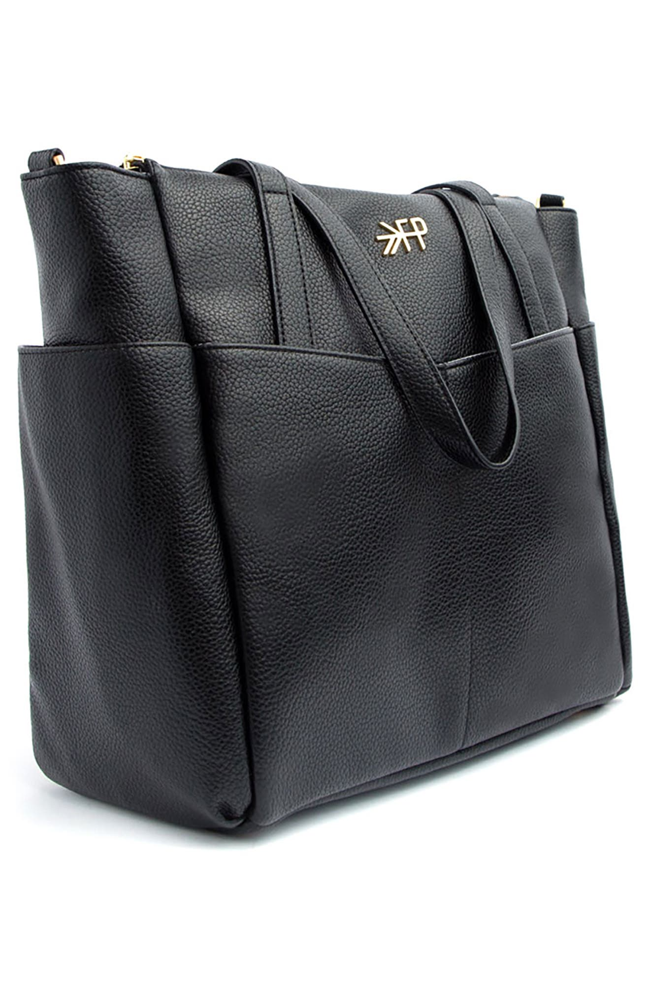 Classic Water Repellent Faux Leather Diaper Tote,                             Alternate thumbnail 4, color,                             EBONY