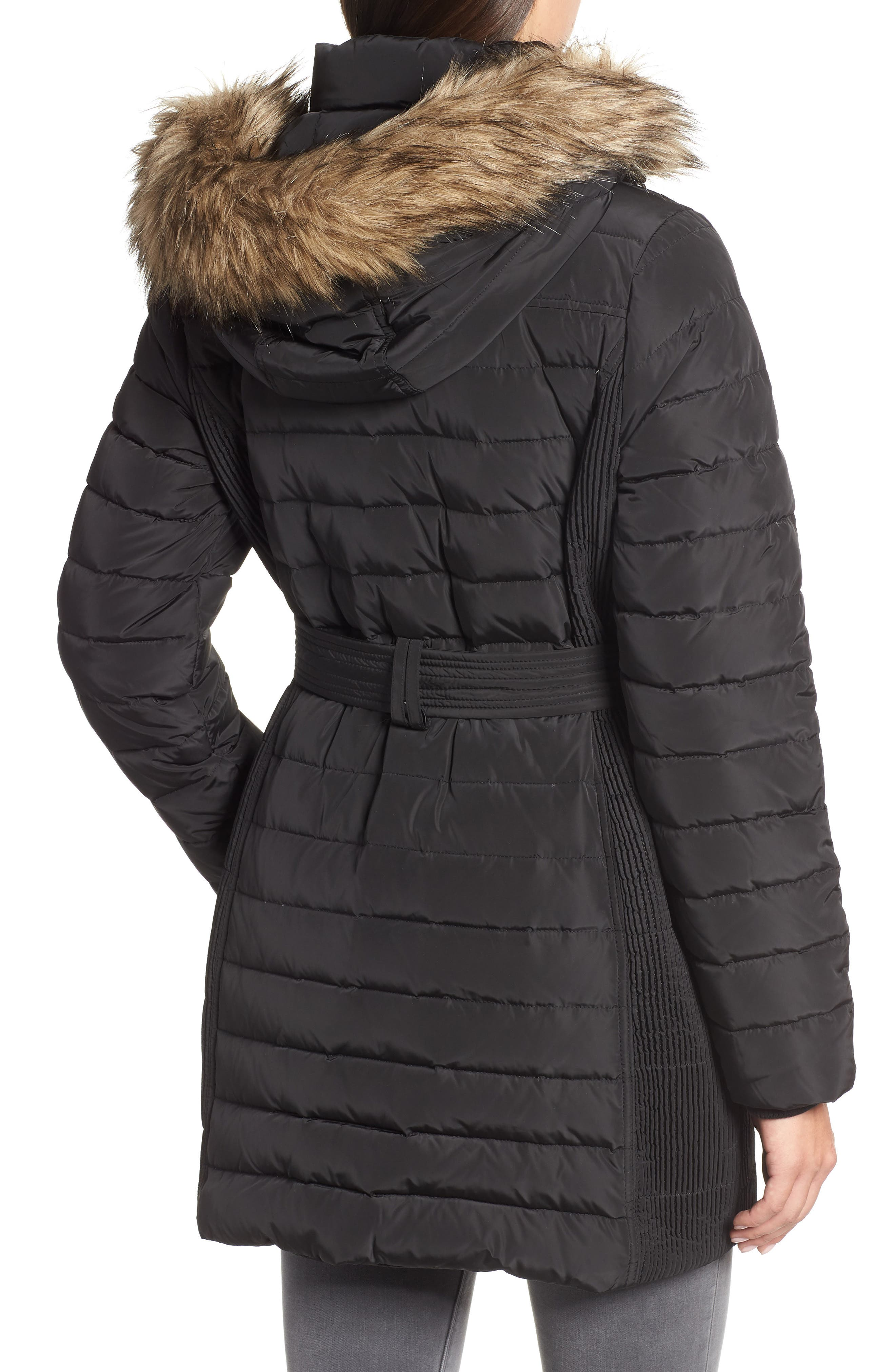 Belted Down Coat with Faux Fur Trim,                             Alternate thumbnail 2, color,                             BLACK