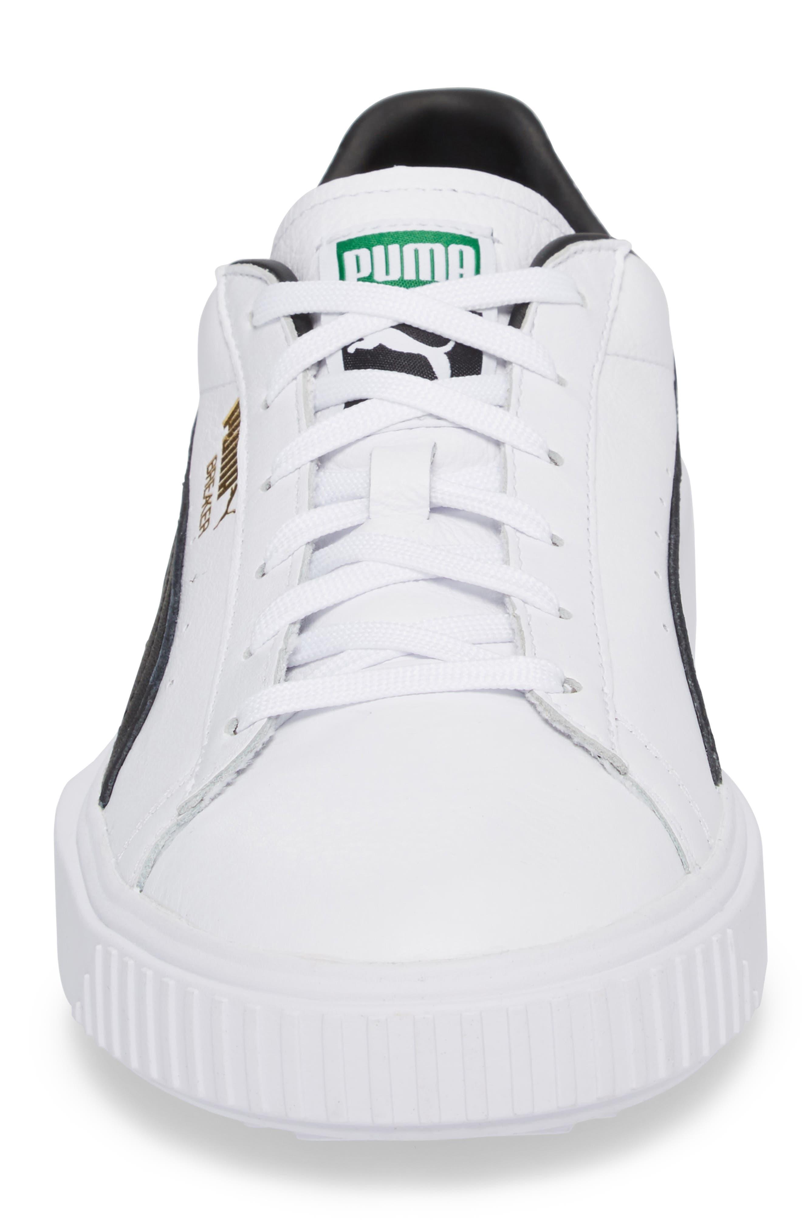 Breaker Low Top Sneaker,                             Alternate thumbnail 4, color,                             WHITE/ BLACK LEATHER
