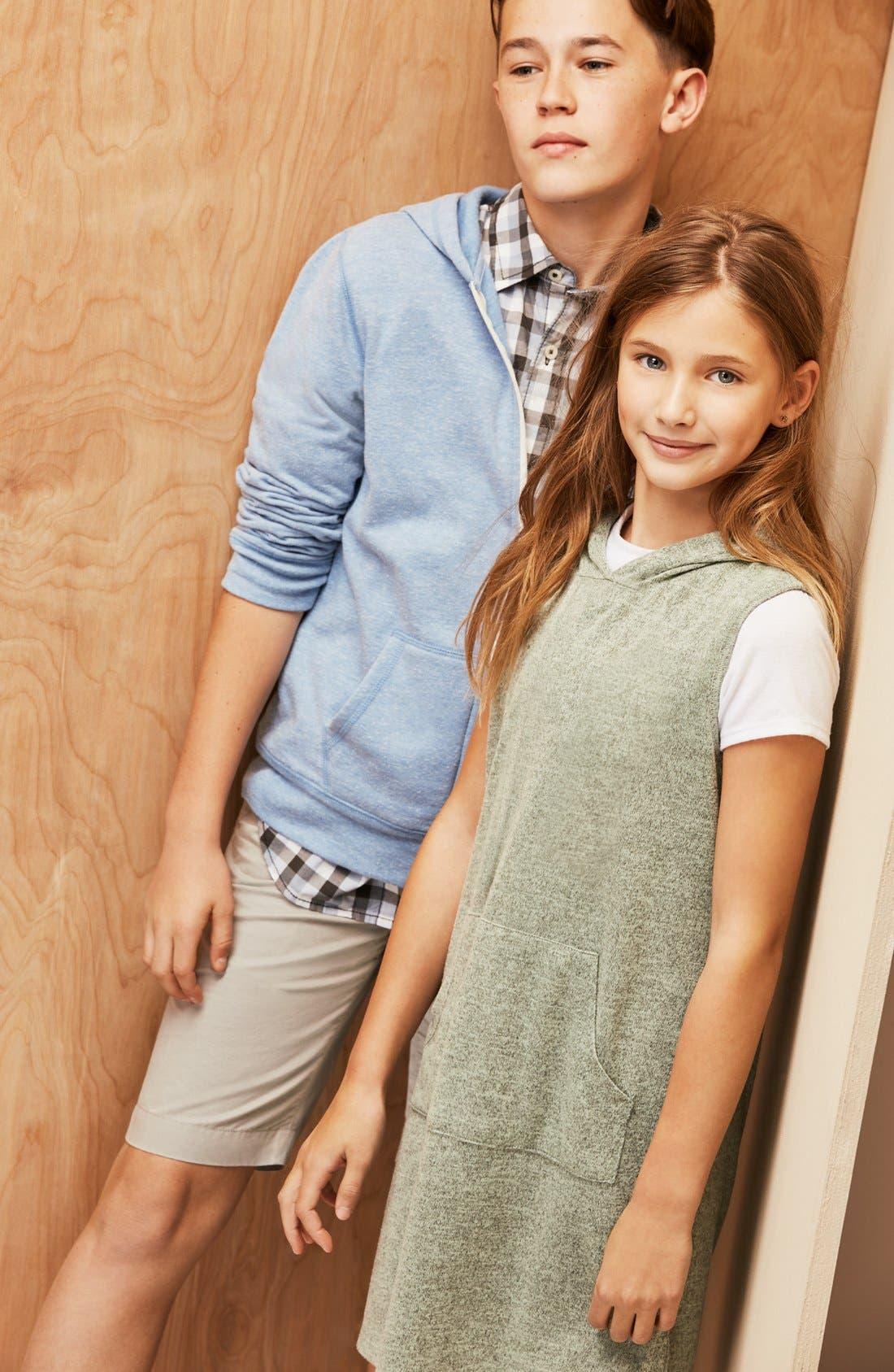 'Photo Op' Long Sleeve Cotton Woven Shirt,                             Alternate thumbnail 3, color,                             NAVY DENIM MADRAS PLAID