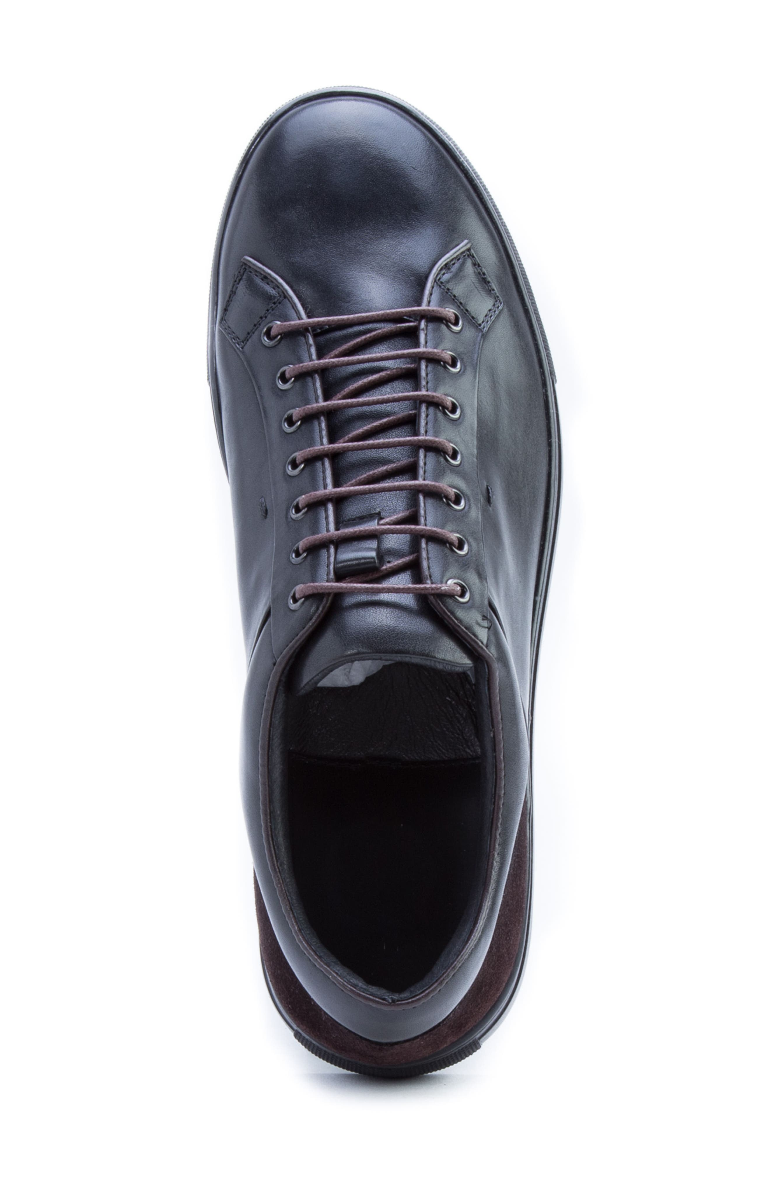 Pitch Low Top Sneaker,                             Alternate thumbnail 5, color,                             BLACK LEATHER/ SUEDE
