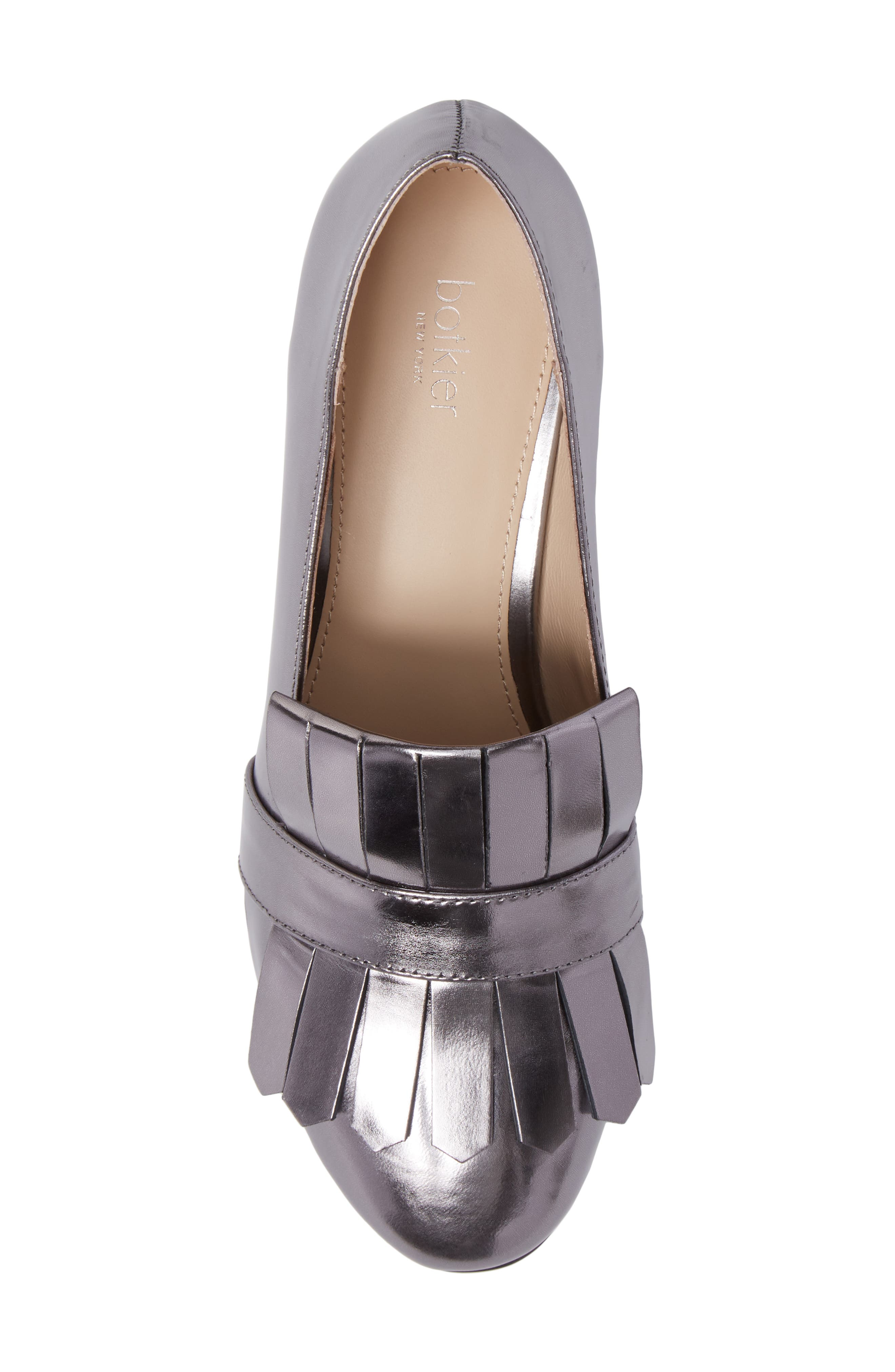 Olive Loafer Pump,                             Alternate thumbnail 5, color,                             PEWTER LEATHER