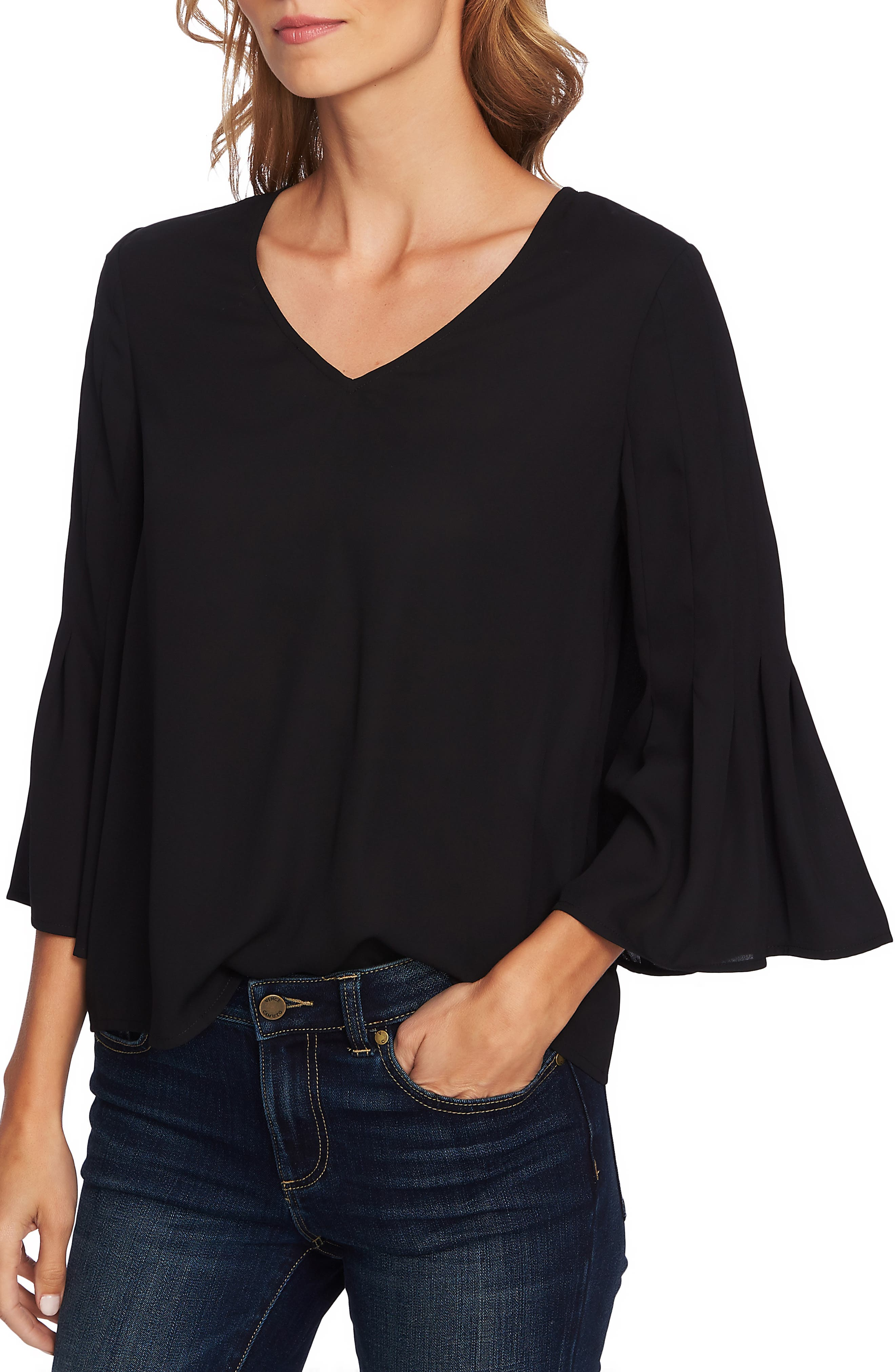 Bell Sleeve Swing Blouse,                             Main thumbnail 1, color,                             RICH BLACK
