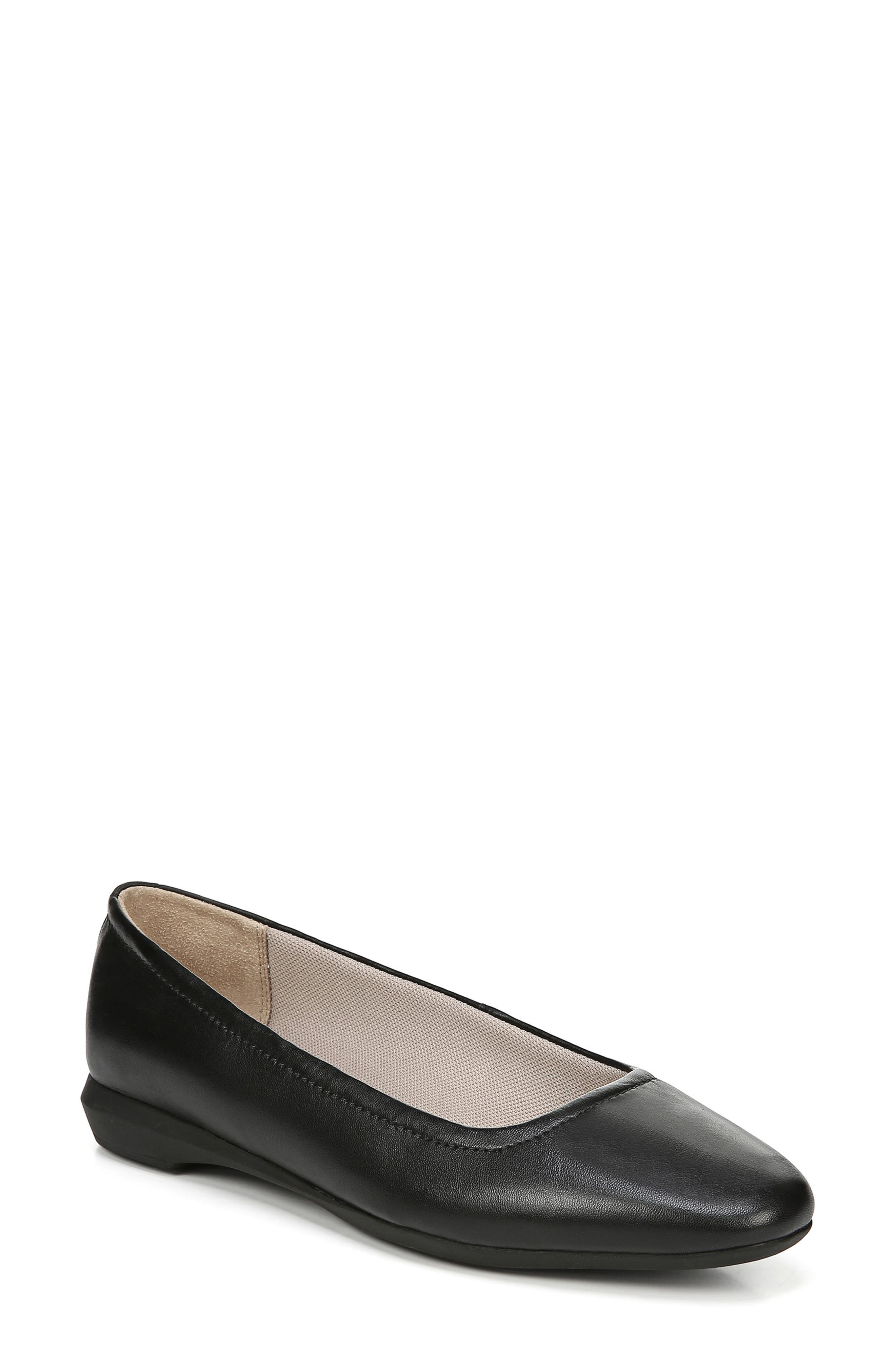 NATURALIZER,                             Alya Flat,                             Main thumbnail 1, color,                             BLACK LEATHER