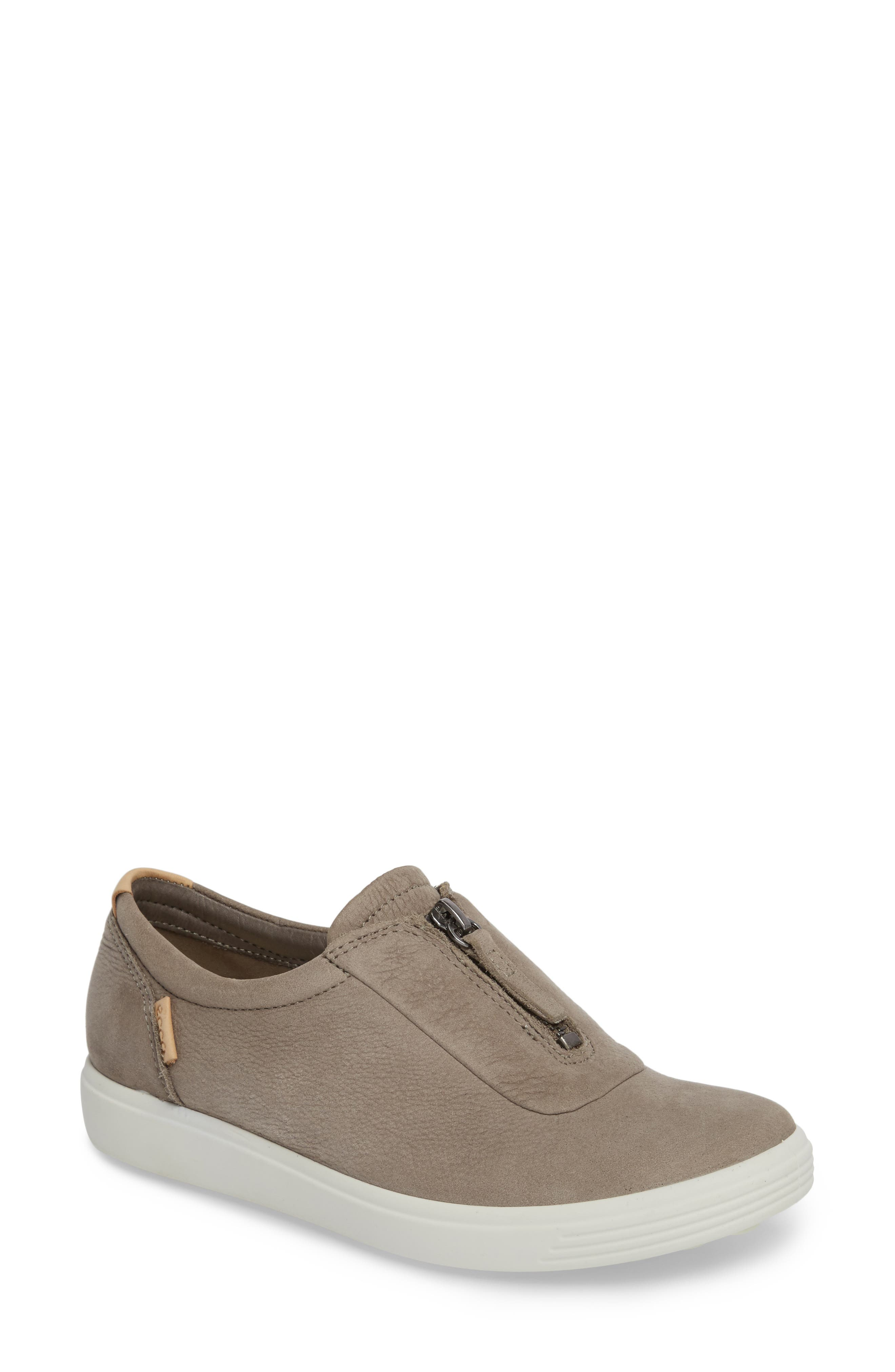 ECCO,                             Soft 7 Slip-On Sneaker,                             Main thumbnail 1, color,                             WARM GREY LEATHER