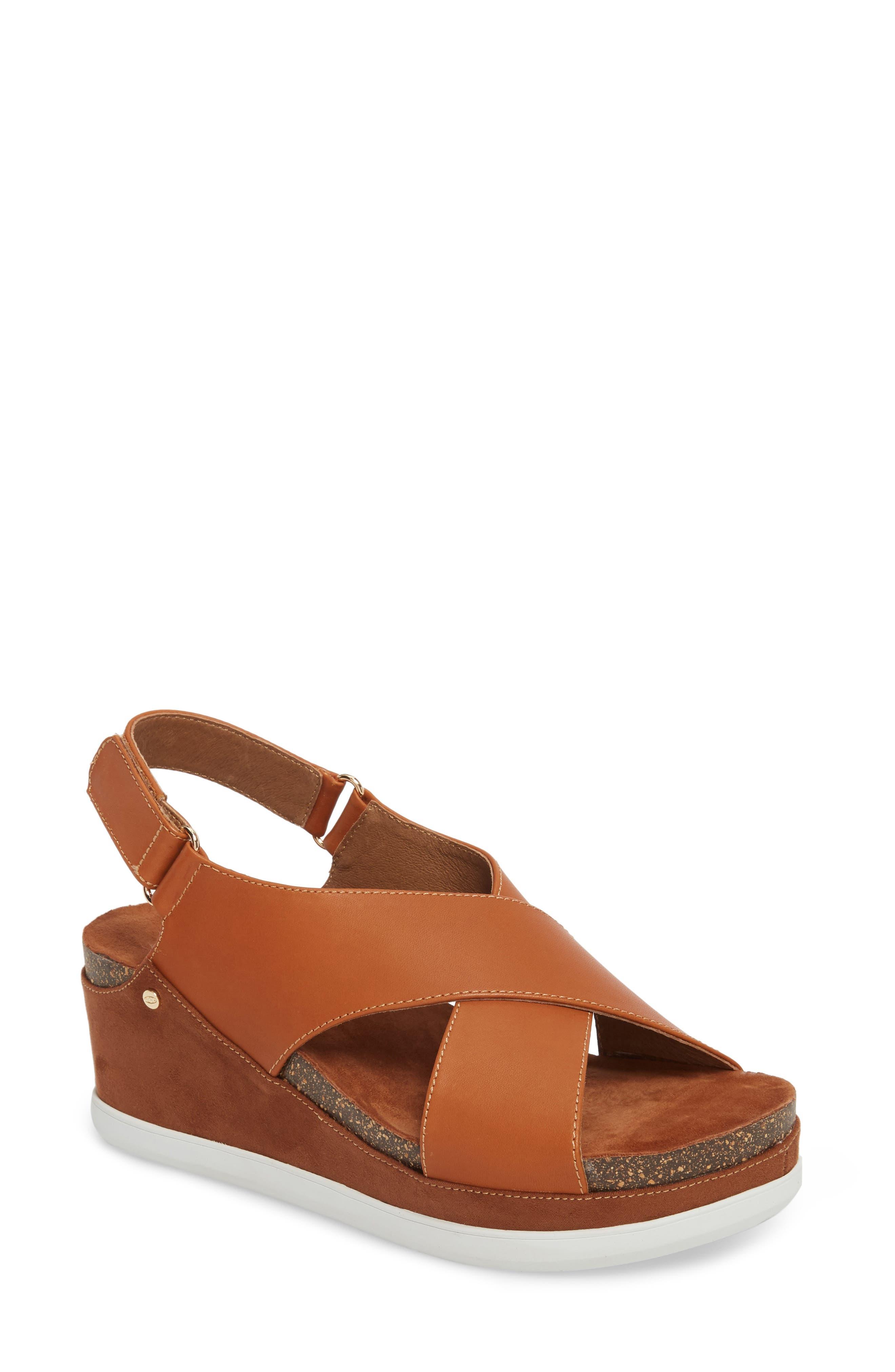 Sudini Pamela Slingback Wedge Sandal, Brown