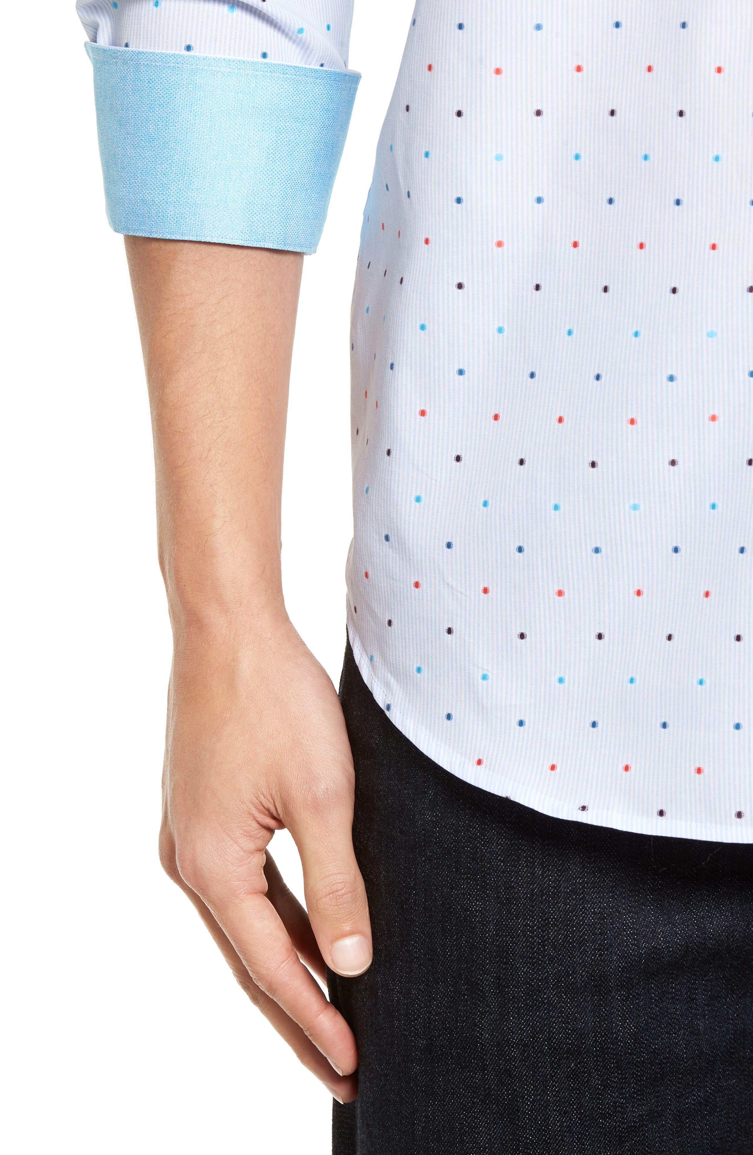 Classic Fit Dot Sport Shirt,                             Alternate thumbnail 4, color,