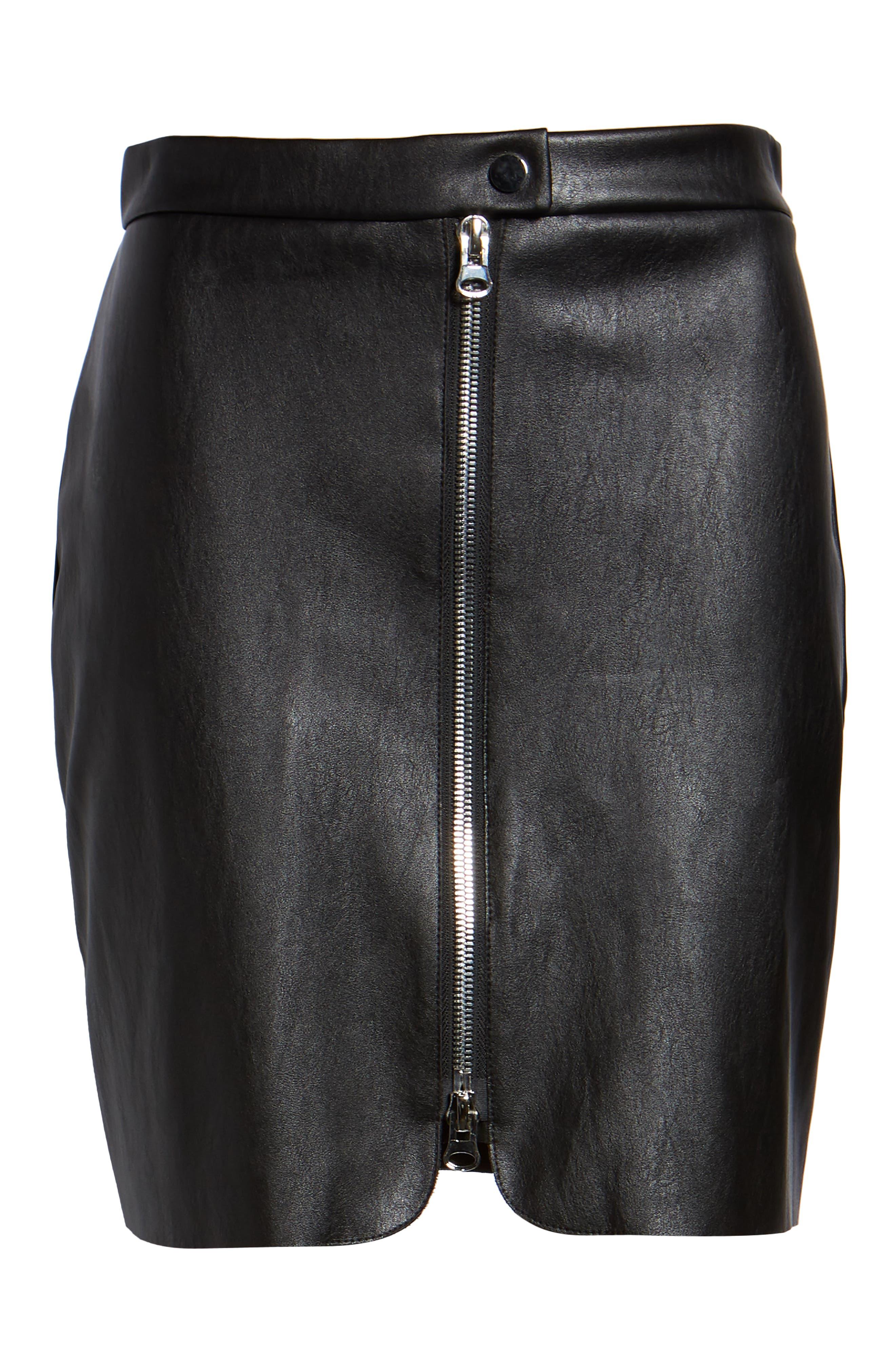 Exposed Zip Miniskirt,                             Alternate thumbnail 6, color,                             001