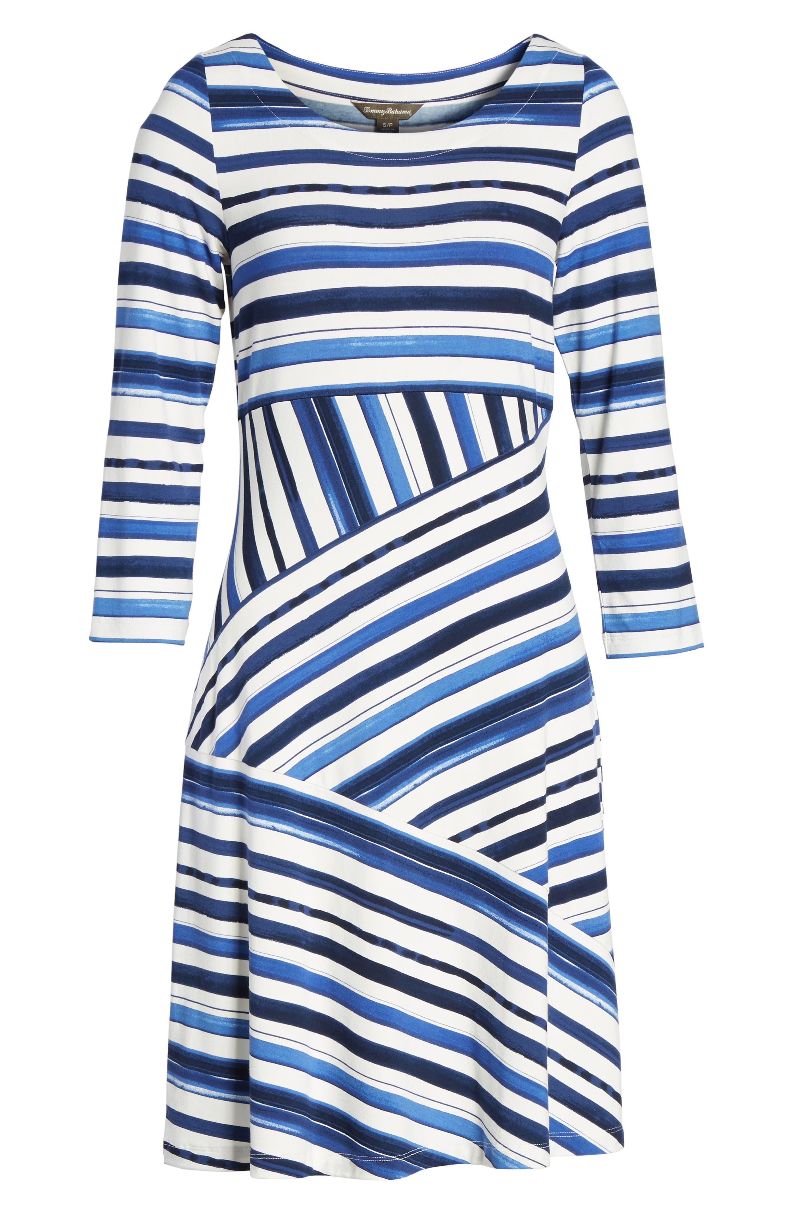 Aquarelle Stripe A-Line Dress,                             Alternate thumbnail 6, color,