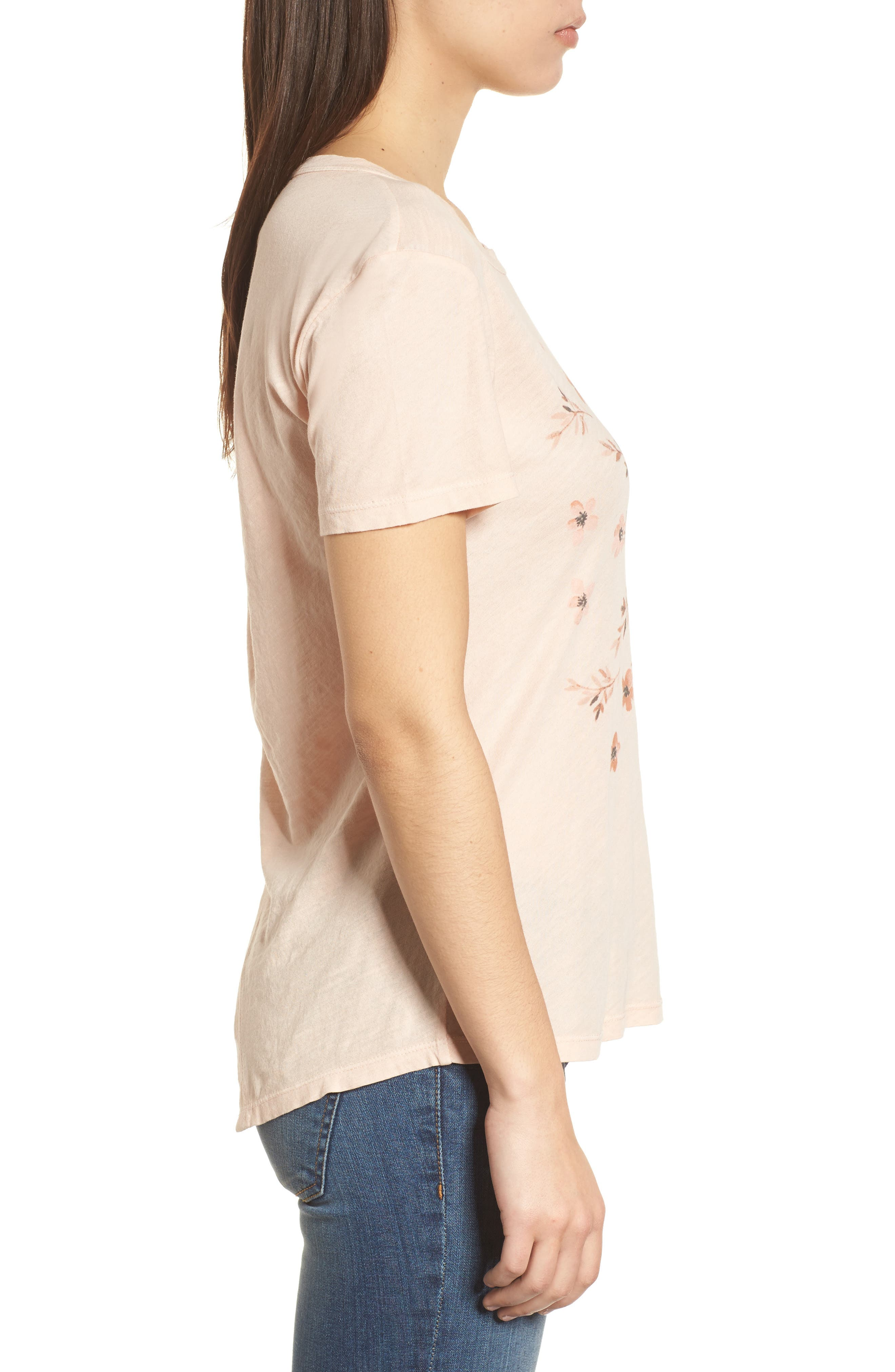 Stamp Flowers Cotton Tee,                             Alternate thumbnail 3, color,                             148