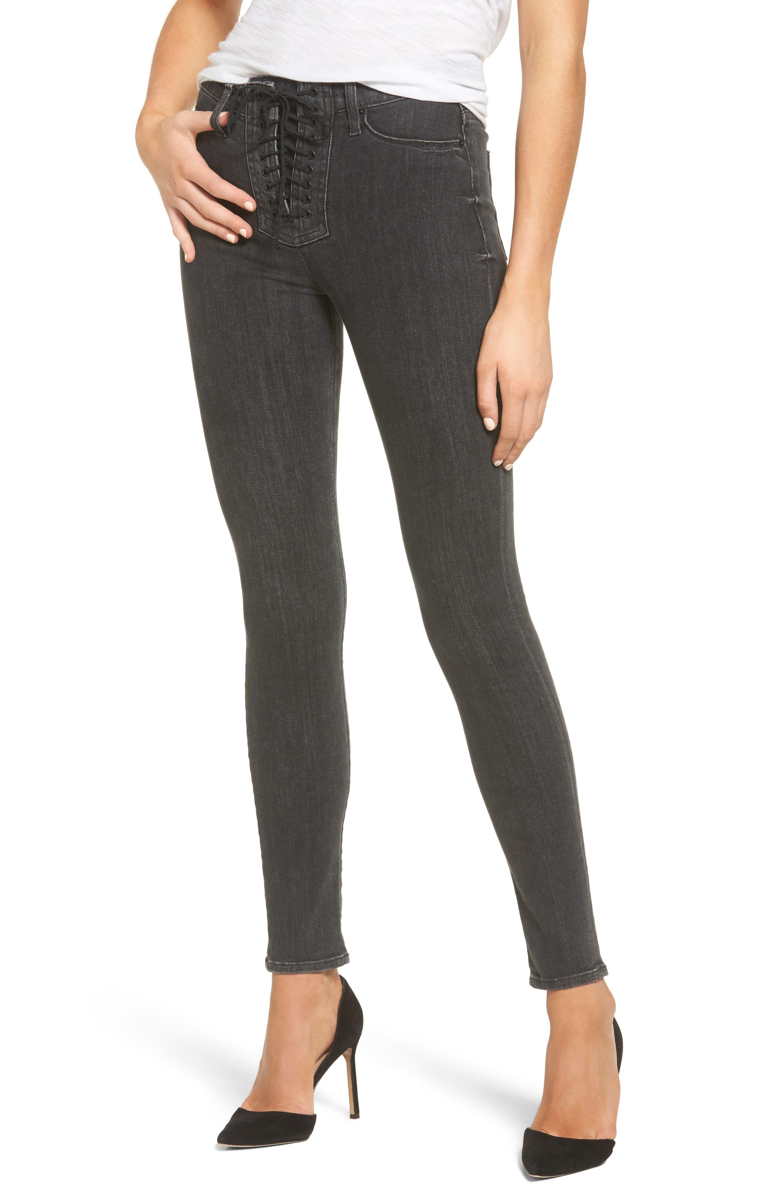 Bullocks High Waist Lace-Up Skinny Jeans,                             Main thumbnail 1, color,                             001