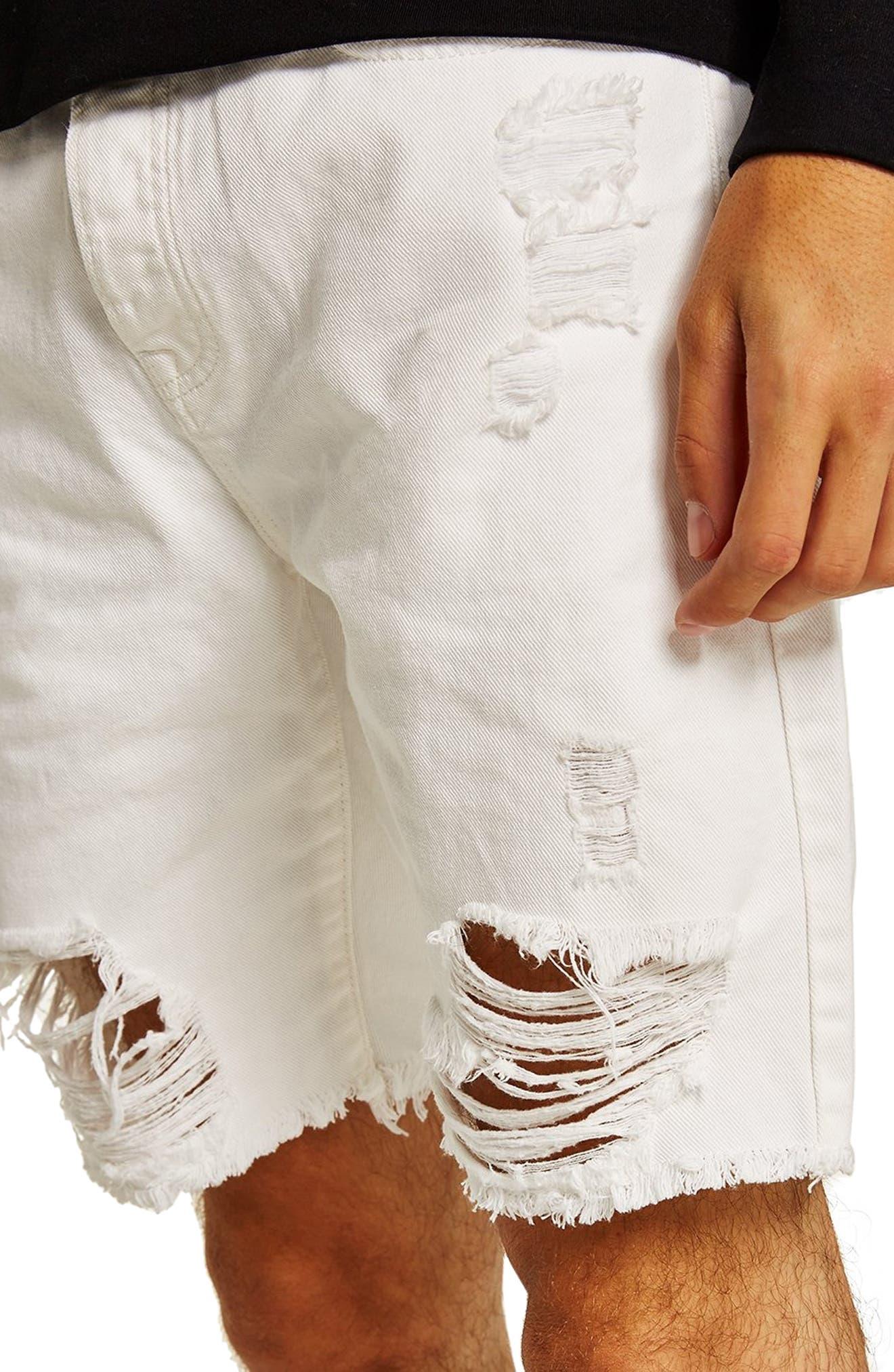 Slim Fit Shredded Jean Shorts,                             Alternate thumbnail 3, color,                             WHITE