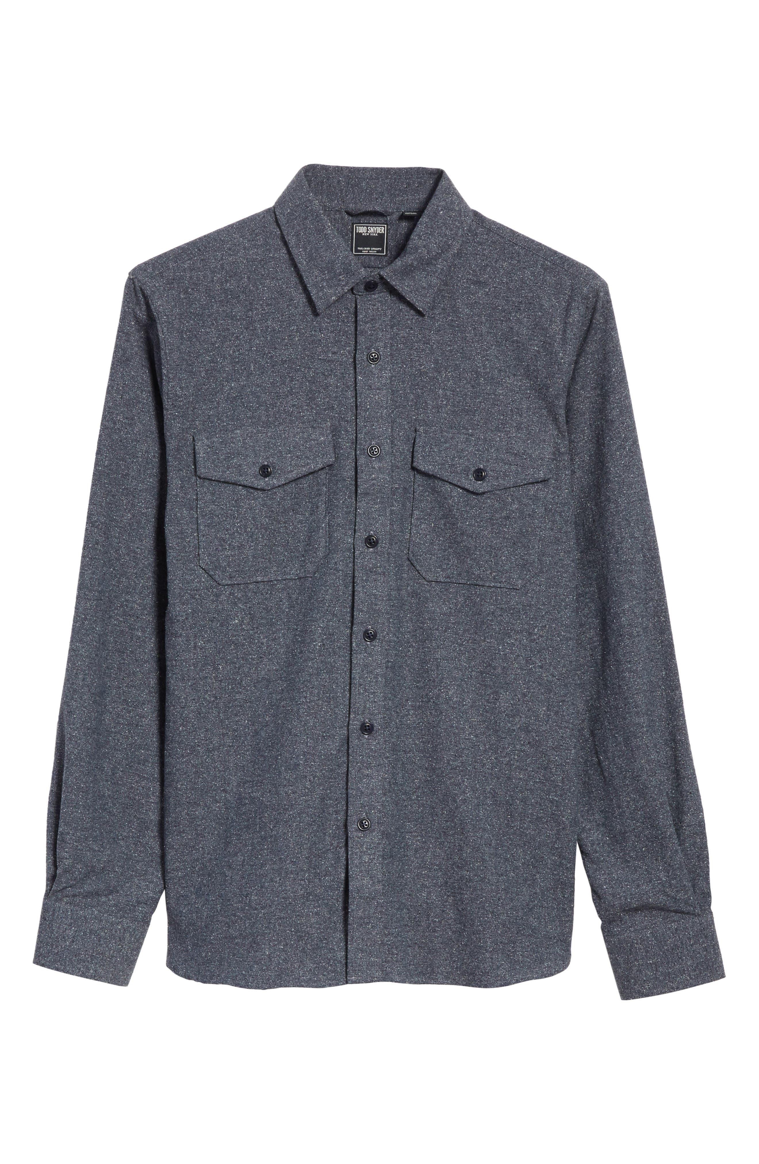 Silk Blend Speckled Work Shirt,                             Alternate thumbnail 6, color,                             410