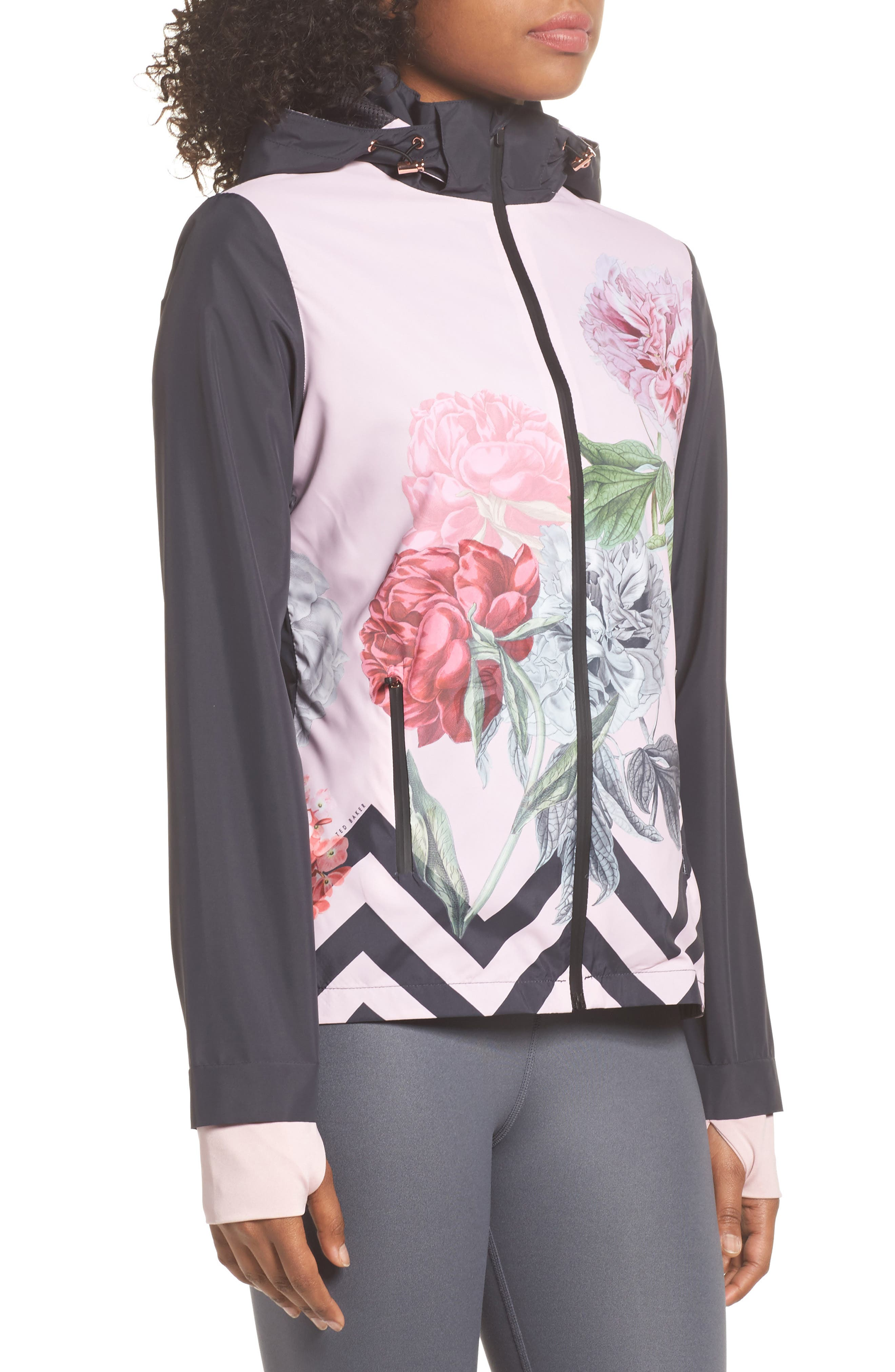 Palace Gardens Print Hooded Jacket,                             Alternate thumbnail 3, color,                             005