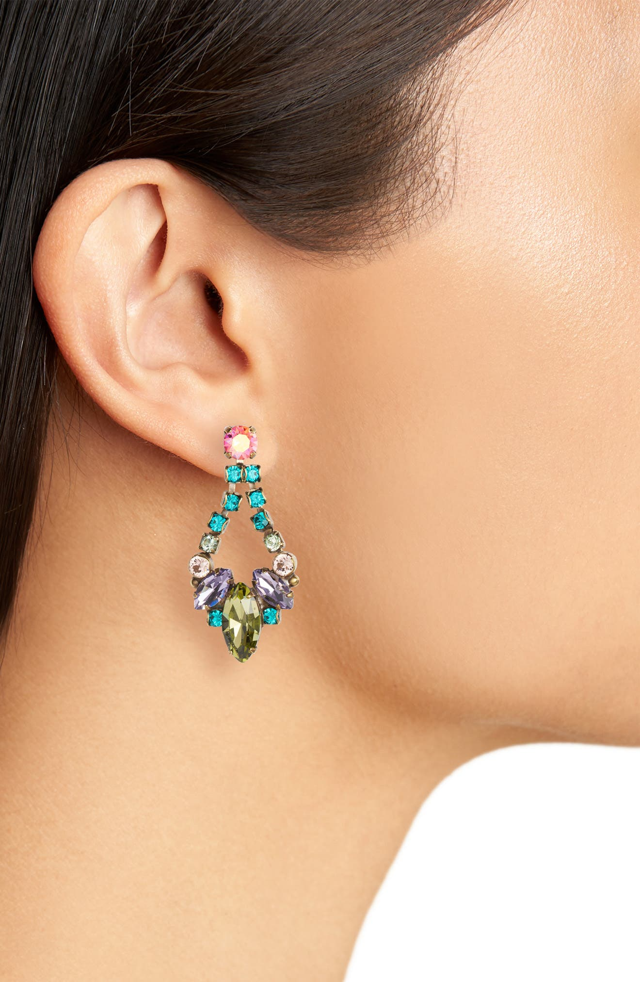 Noveau Navette Crystal Drop Earrings,                             Alternate thumbnail 2, color,                             GREEN MULTI