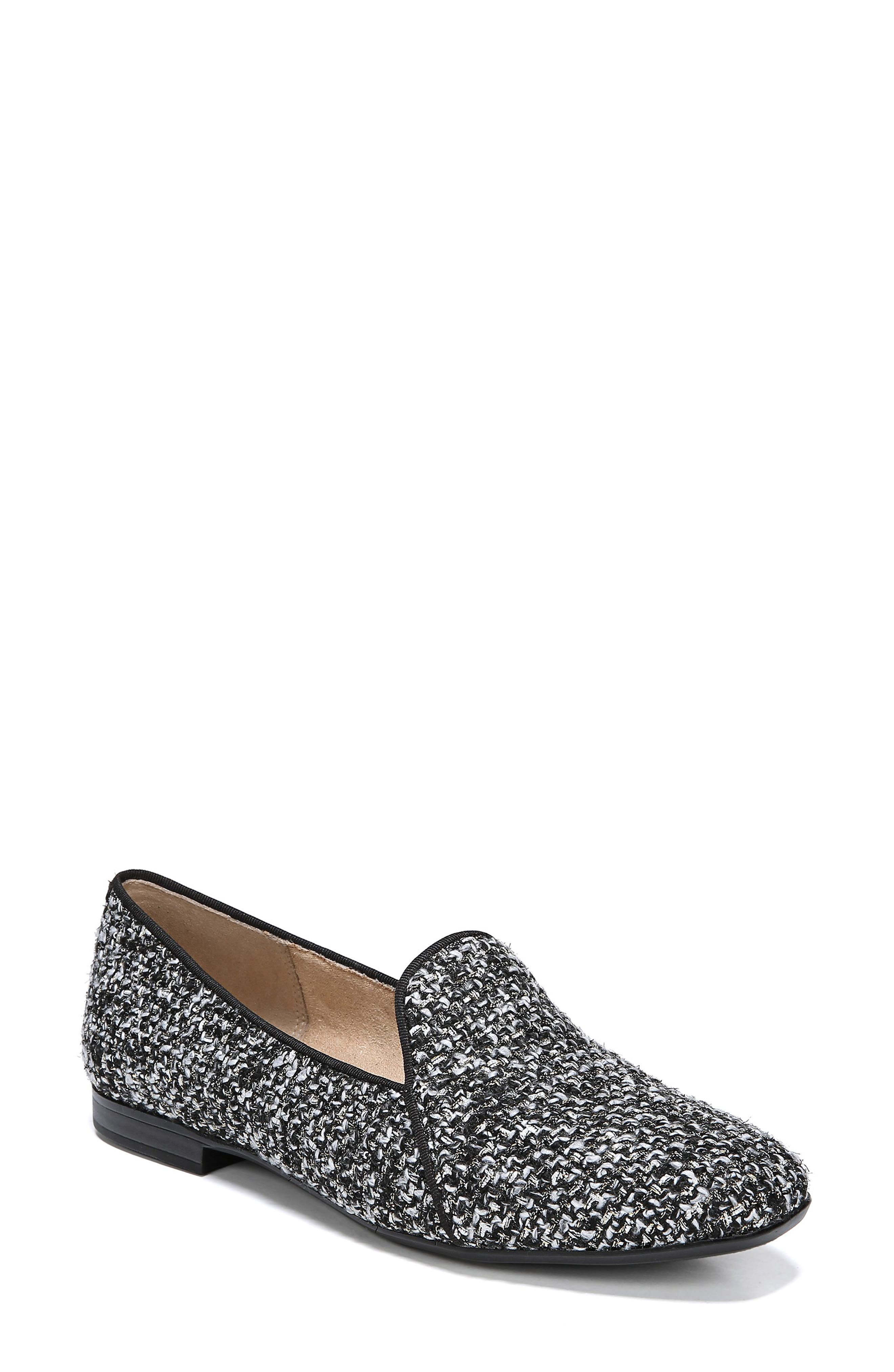 Emiline 2 Loafer,                         Main,                         color, BLACK/ WHITE TWEED FABRIC