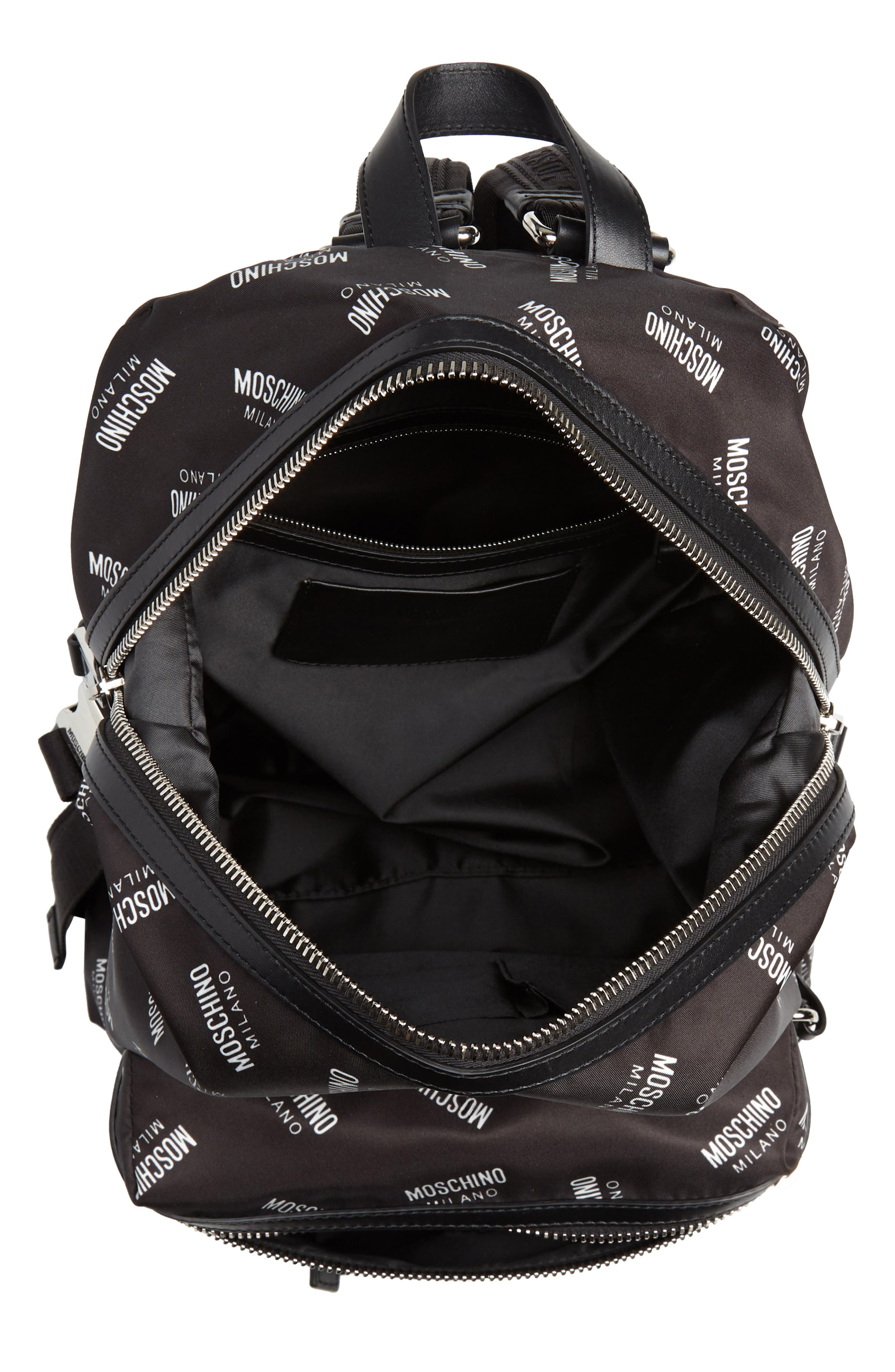 MOSCHINO,                             Allover Logo Print Backpack,                             Alternate thumbnail 4, color,                             BLACK