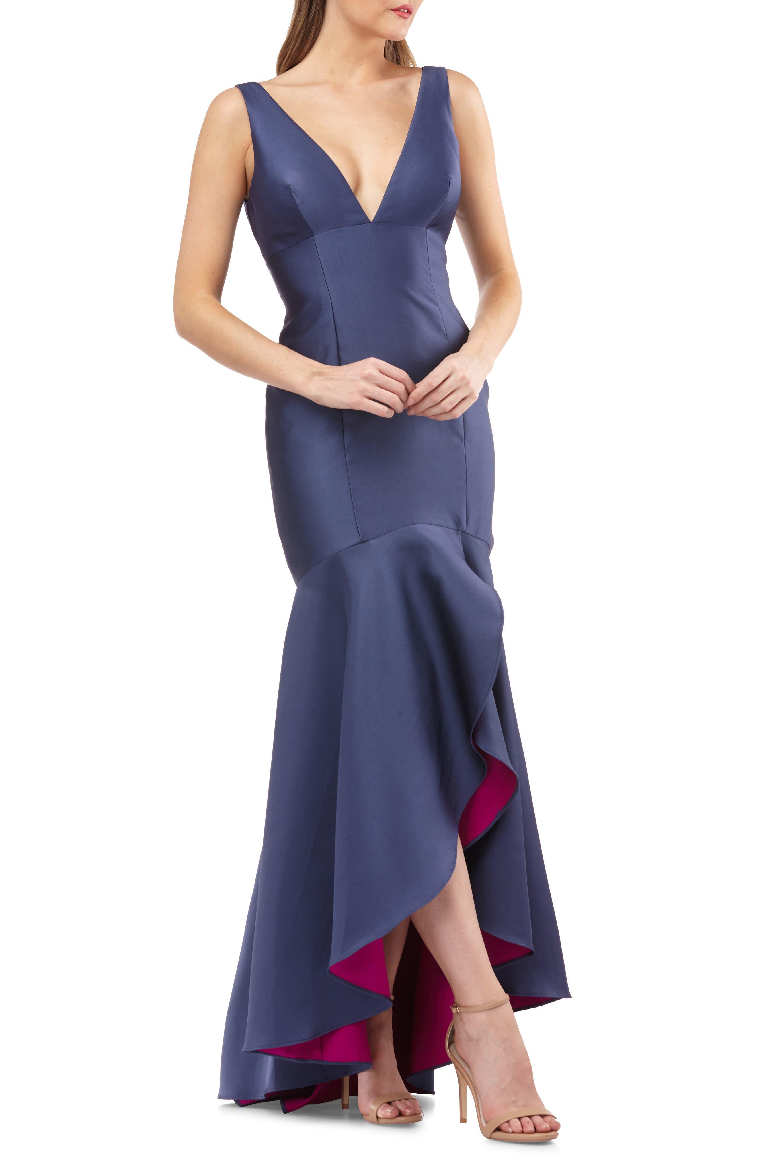 Carmen Marc Valvo Infusion Satin High/low Evening Dress, Blue