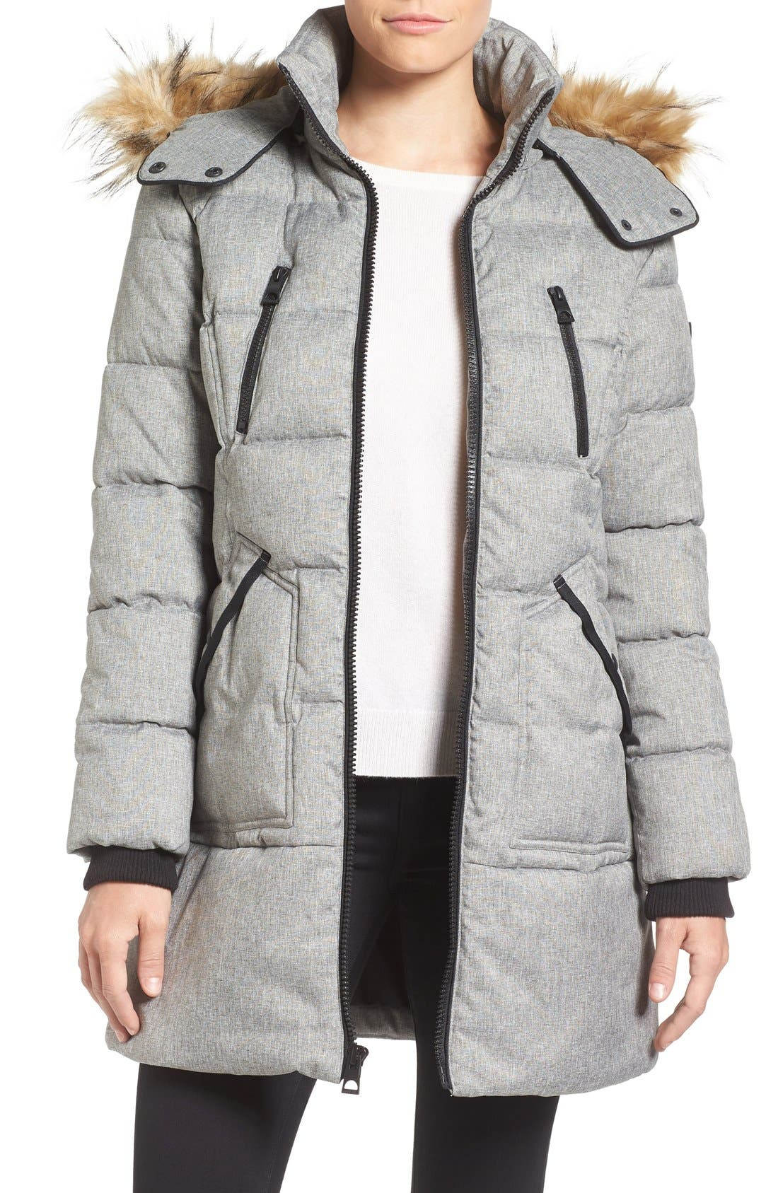 'Expedition' Quilted Parka with Faux Fur Trim,                             Main thumbnail 3, color,