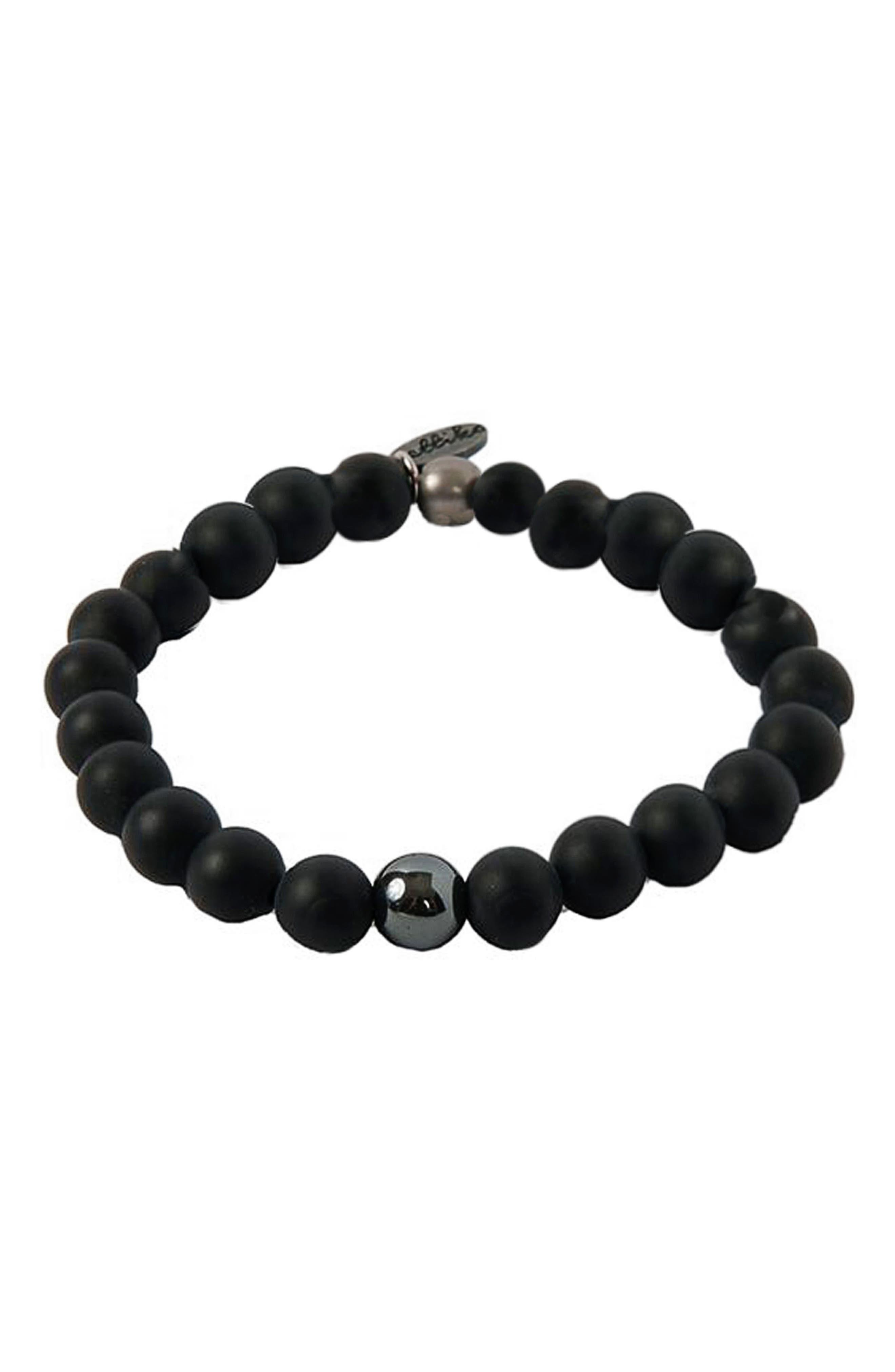 Hematite Onyx Bracelet,                             Main thumbnail 1, color,                             BLACK