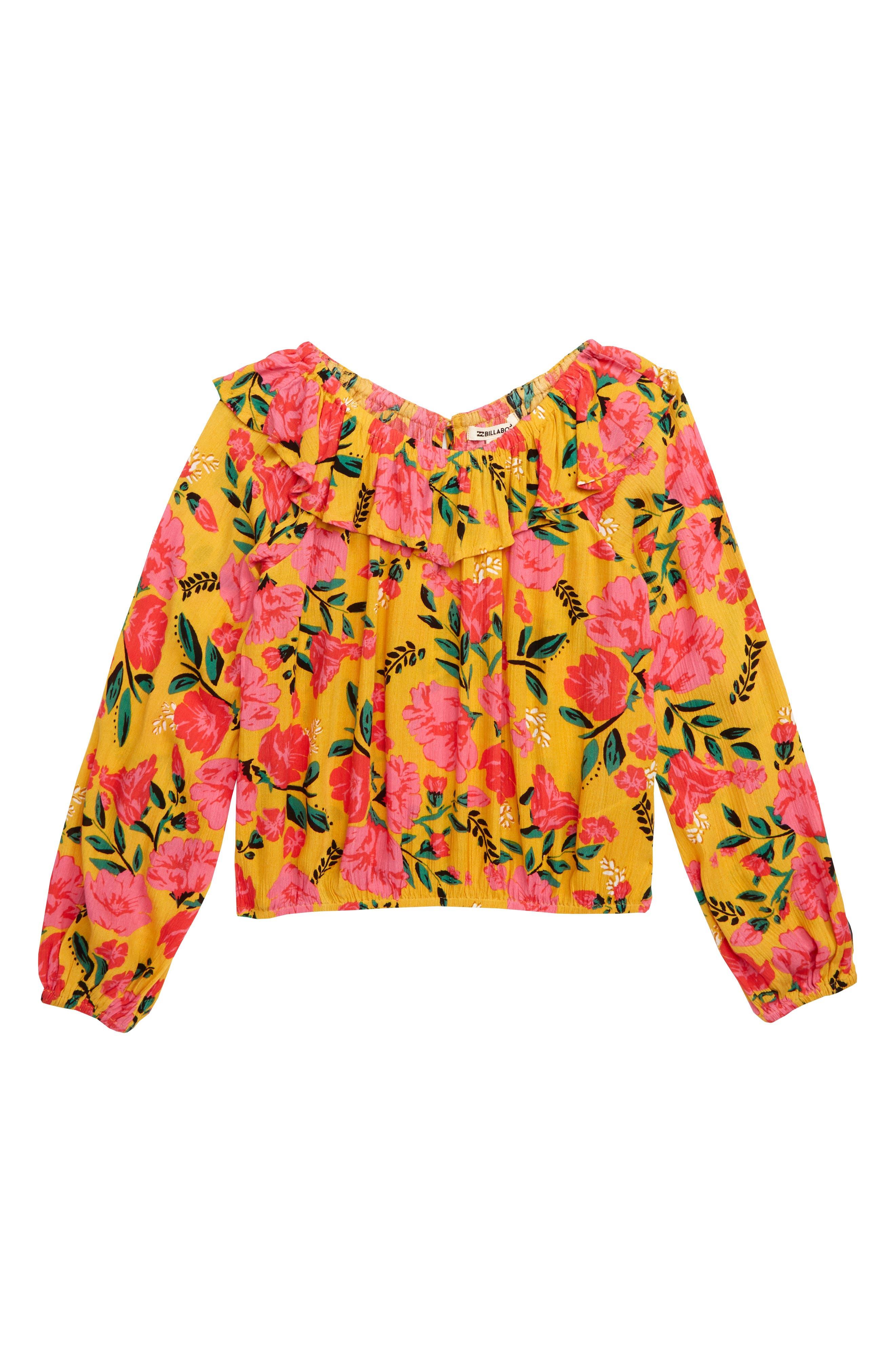 BILLABONG,                             Floral Fields Ruffle Top,                             Main thumbnail 1, color,                             GOLDEN GLOW