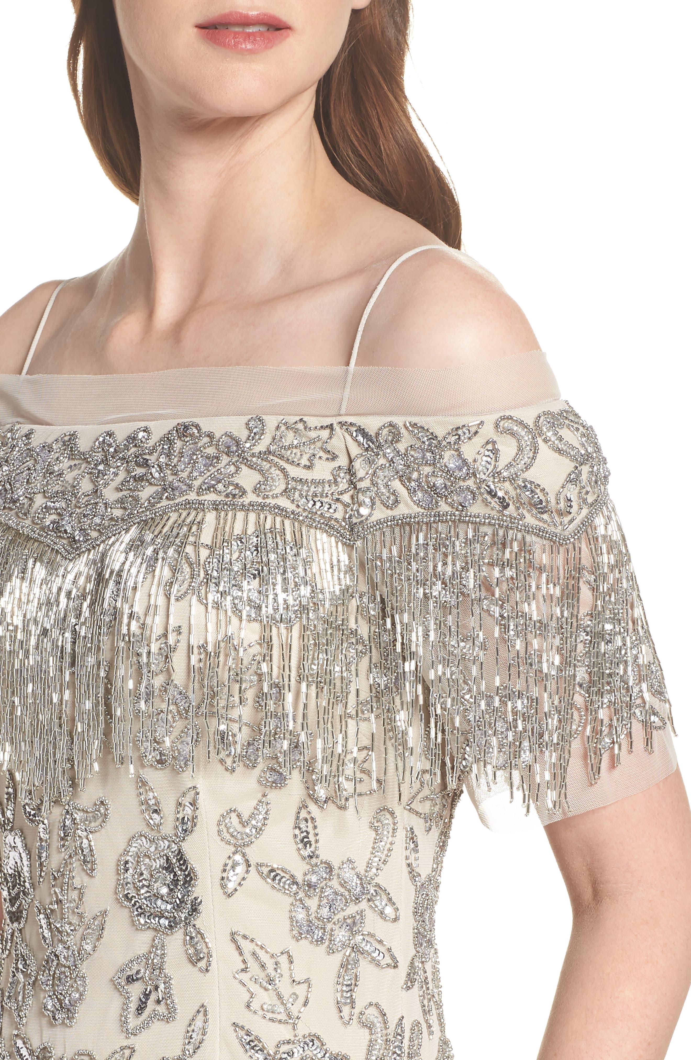 Fringe Bead Cold Shoulder Gown,                             Alternate thumbnail 4, color,