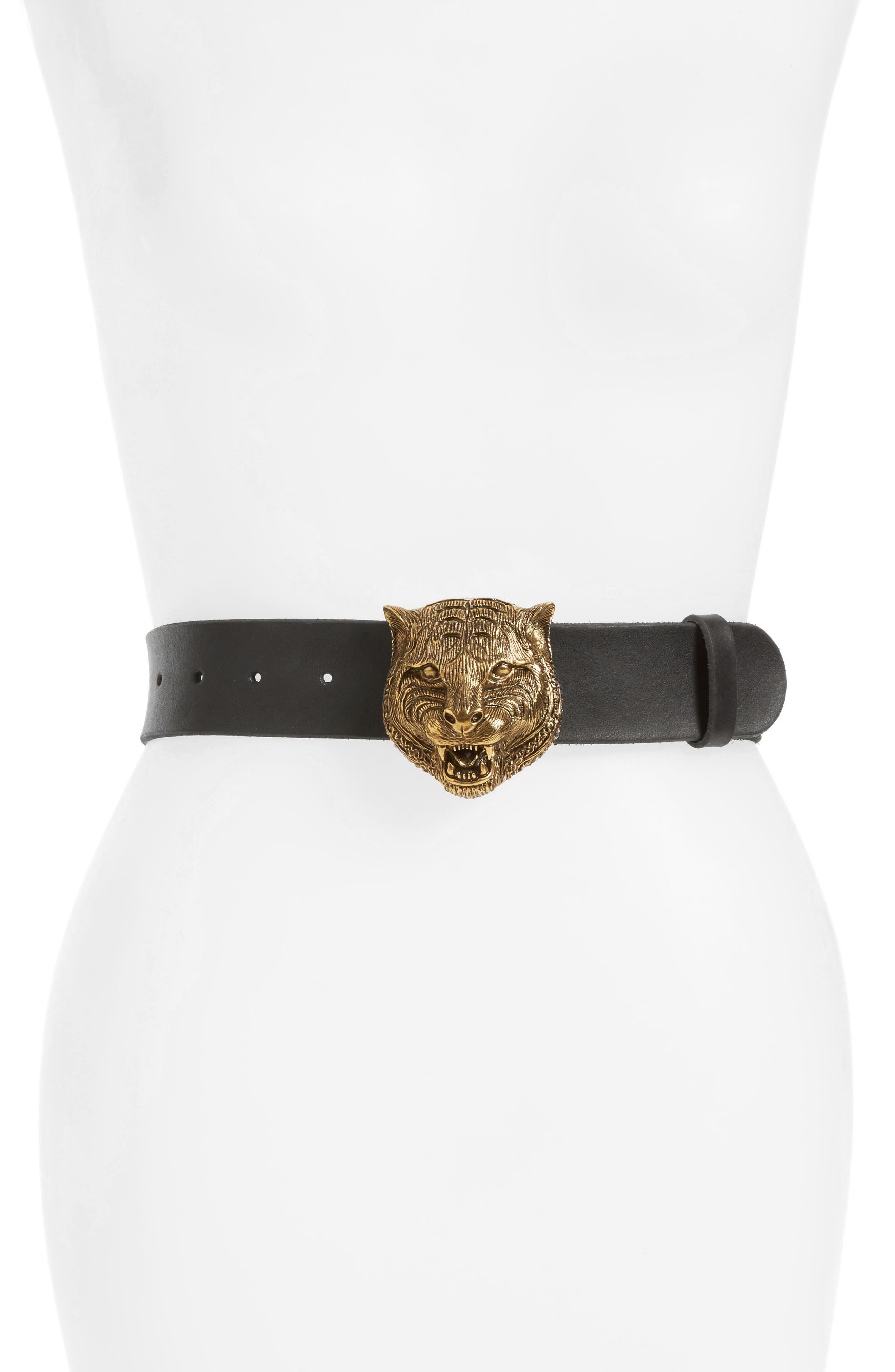 GUCCI Tiger Buckle Leather Belt, Main, color, 001