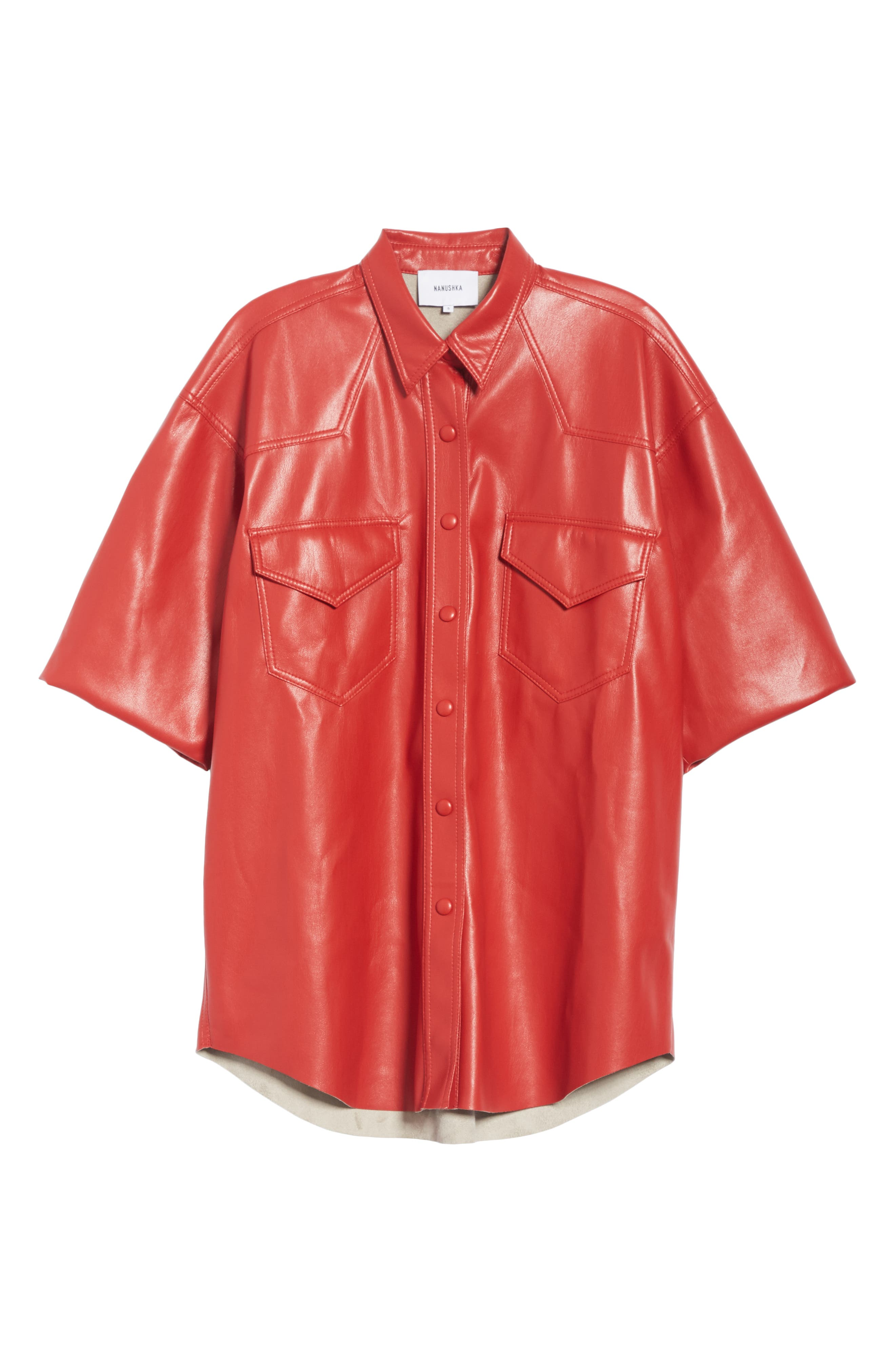 Seymour Faux Leather Shirt,                             Alternate thumbnail 6, color,                             RED