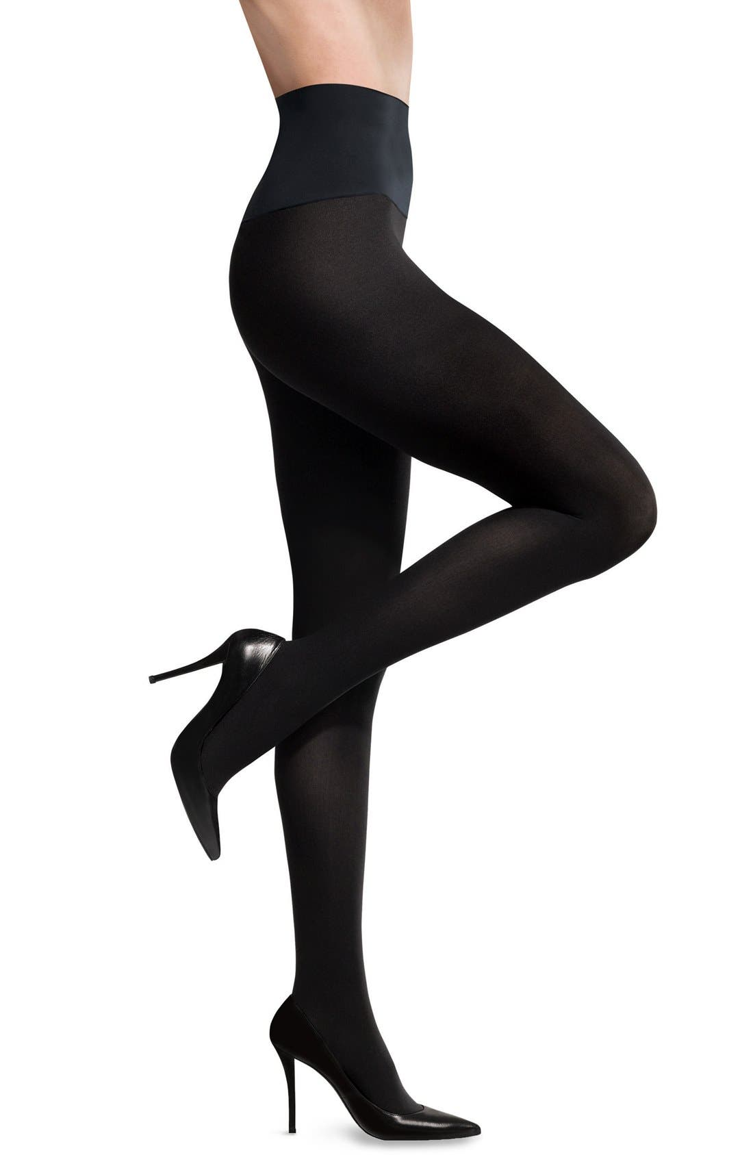 'Ultimate Opaque' Control Top Tights,                             Main thumbnail 1, color,                             BLACK