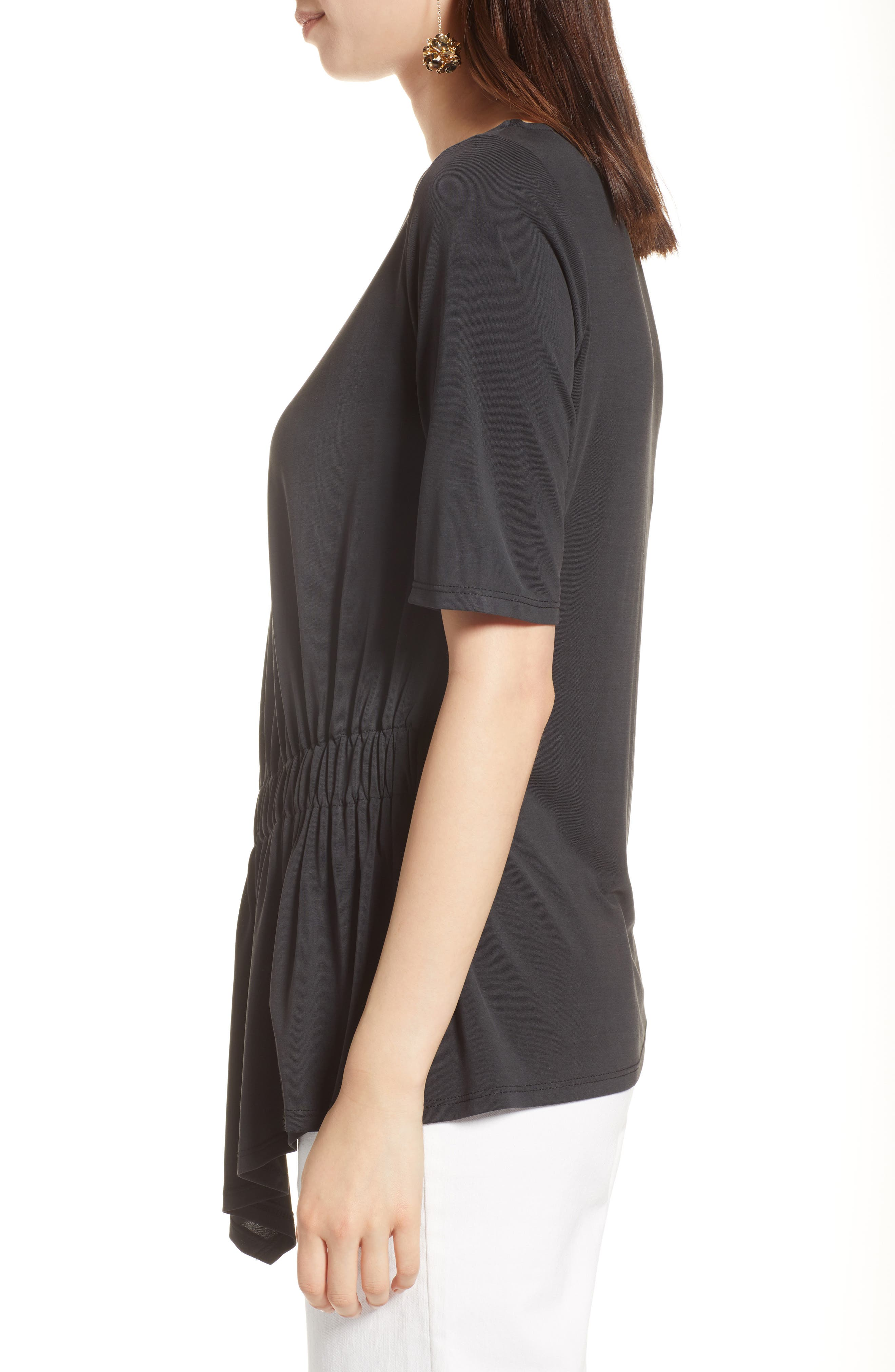 Ruched Waist Tee,                             Alternate thumbnail 3, color,                             001