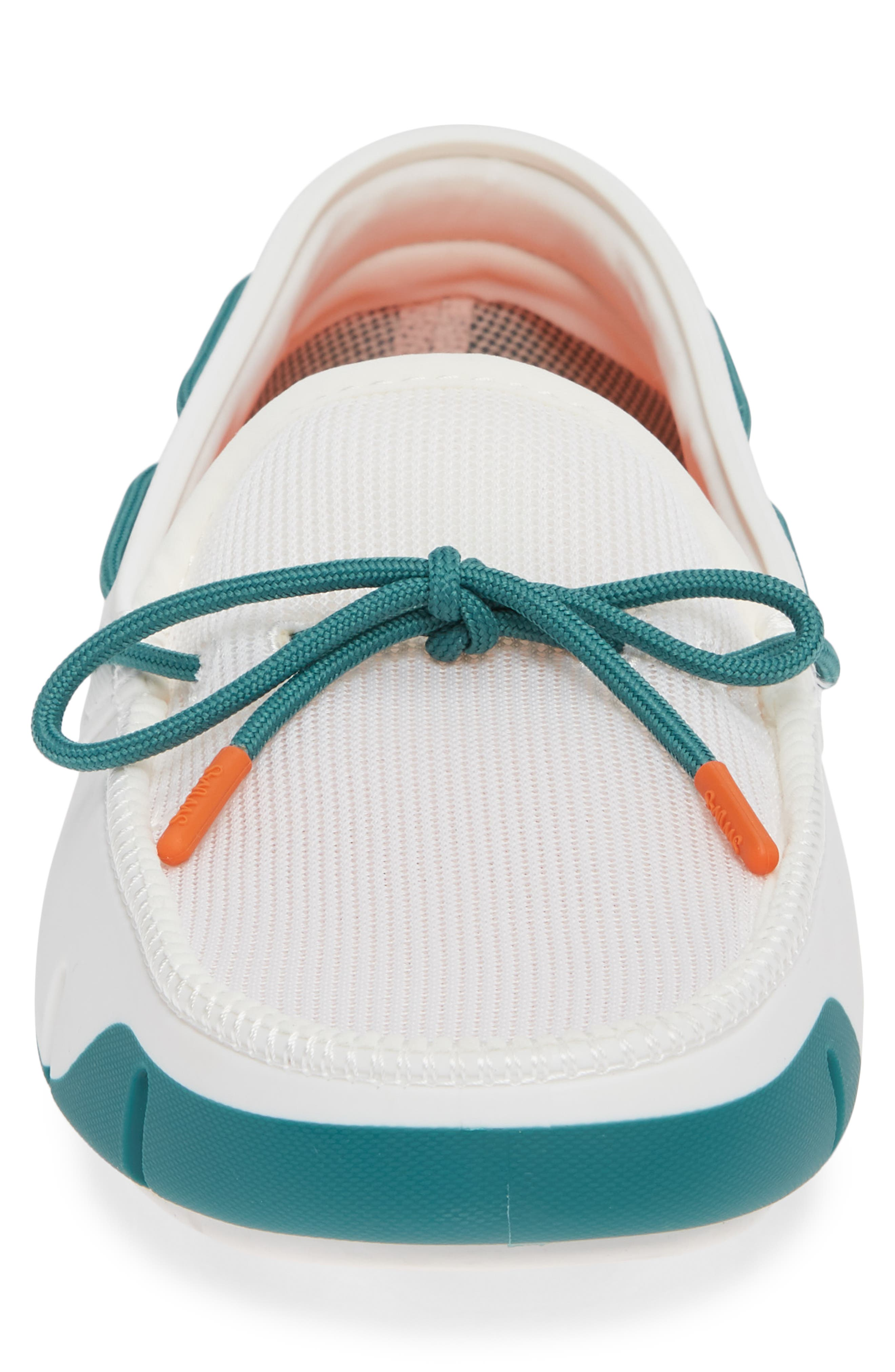 Stride Lace Loafer,                             Alternate thumbnail 4, color,                             WHITE/ TEAL