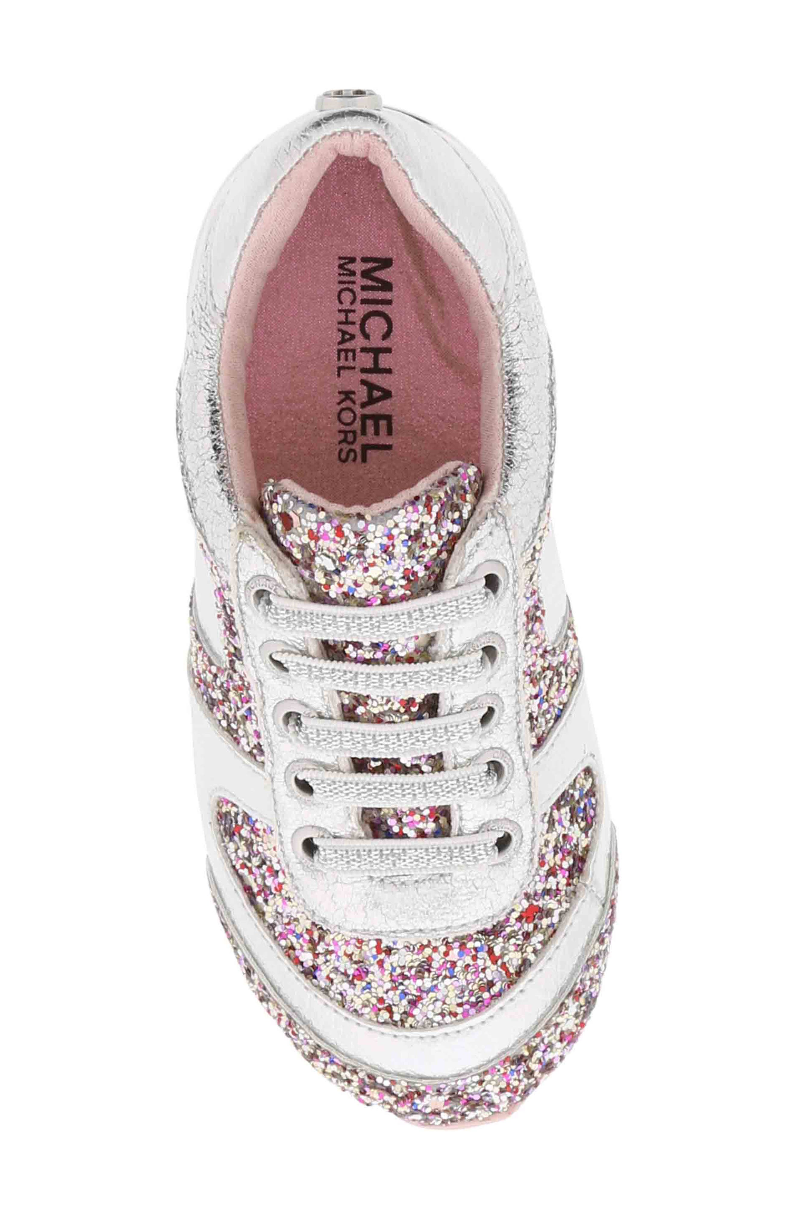 Allie Beatz Glitter Sneaker,                             Alternate thumbnail 5, color,                             SILVER MULTI